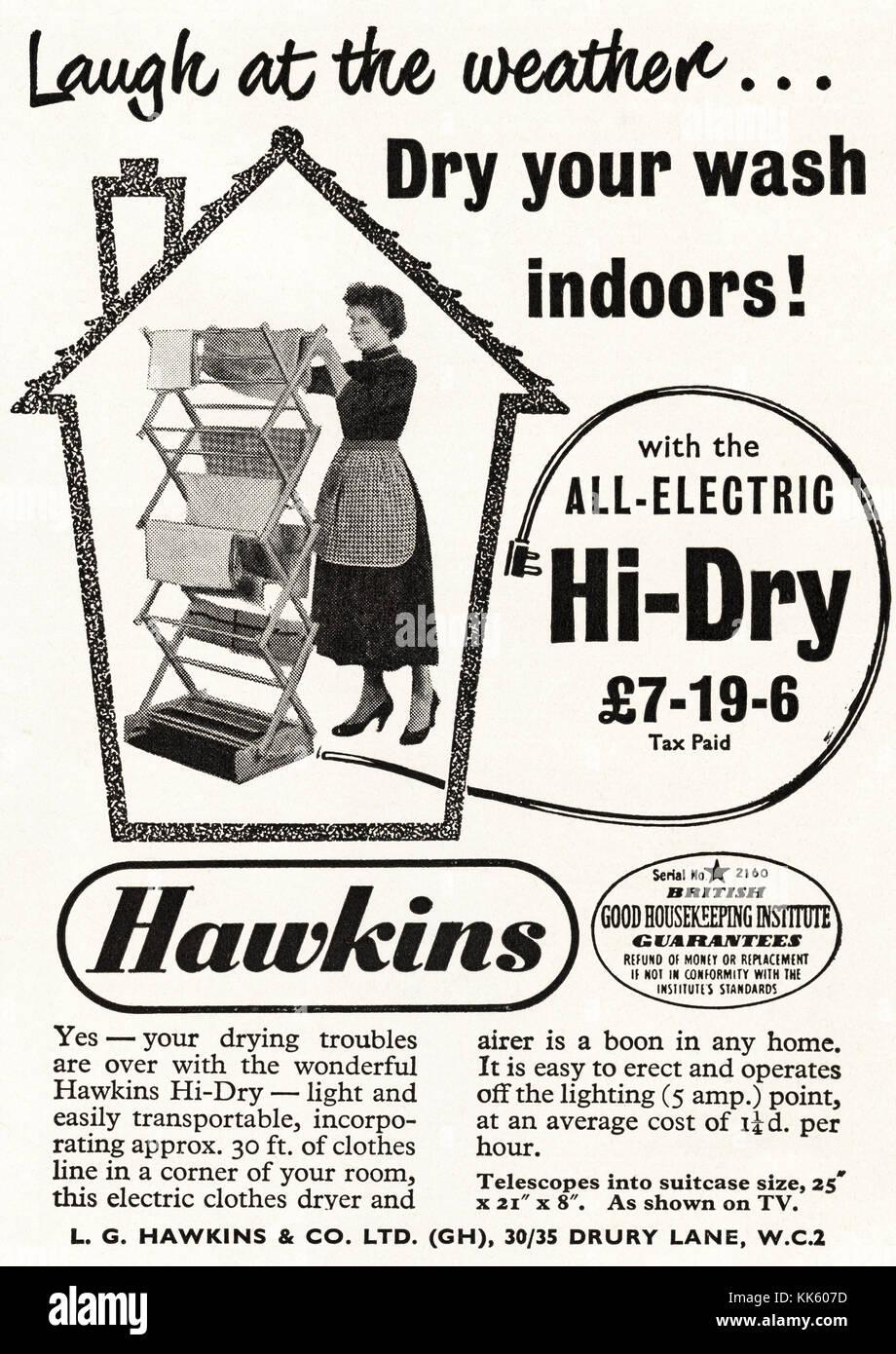 1950s old vintage original advert british magazine print advertisement advertising Hawkins electric clothes dryer - Stock Image