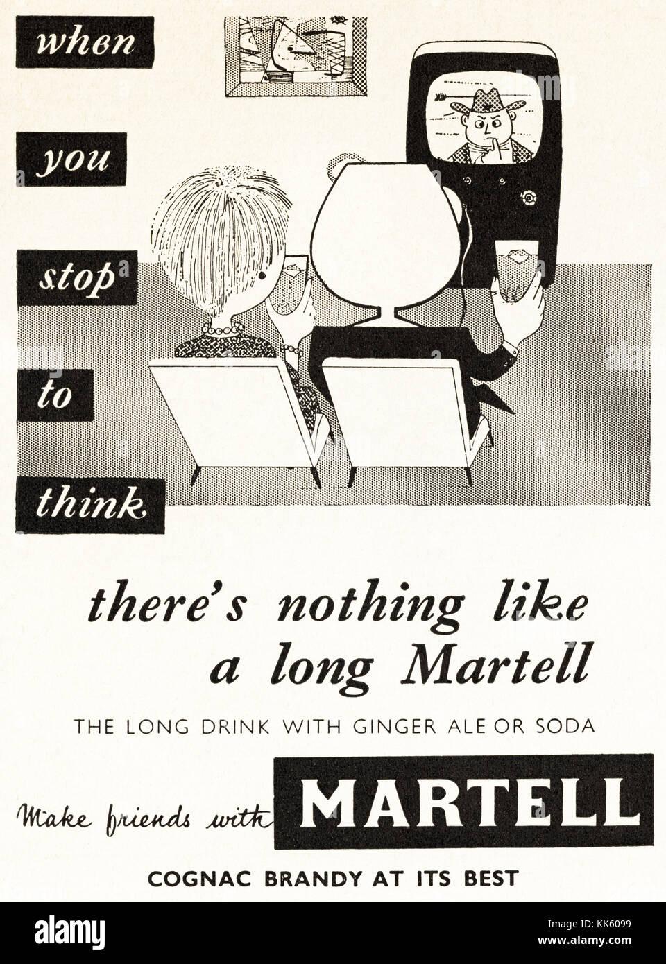 1950s old vintage original advert british magazine print advertisement advertising Martell cognac brandy dated 1958 - Stock Image