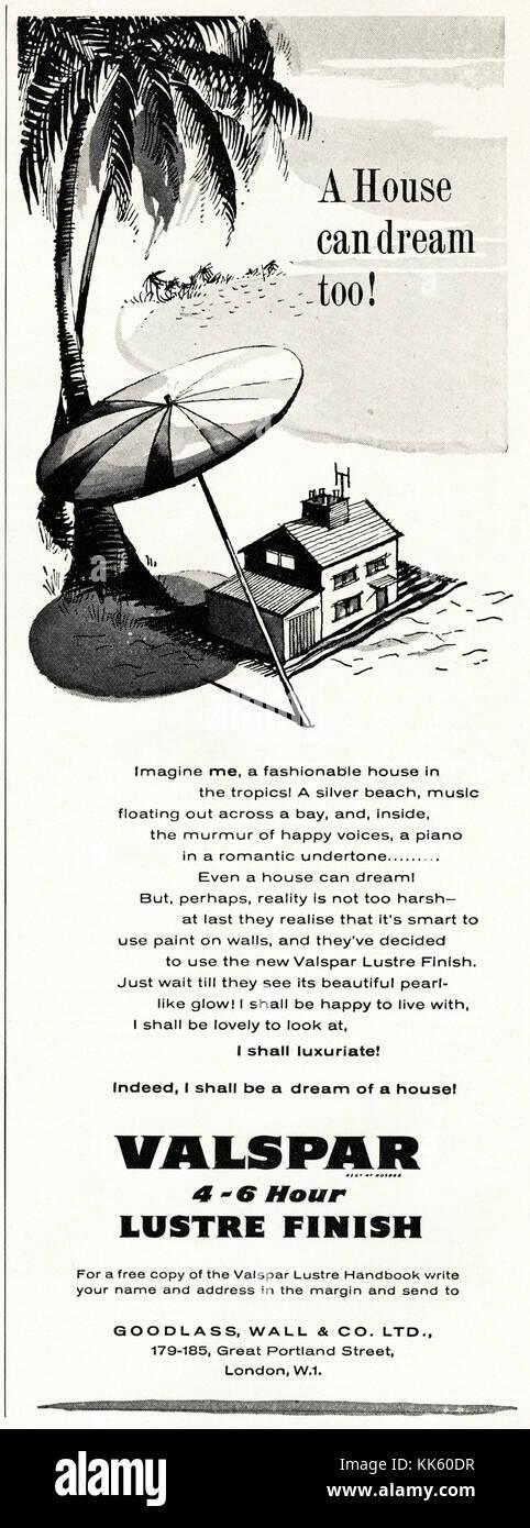 1950s old vintage original advert british magazine print advertisement advertising Valspar paint dated 1958 UK - Stock Image