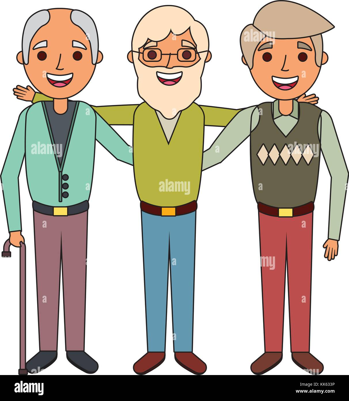 group the three old men embraced happy people - Stock Vector