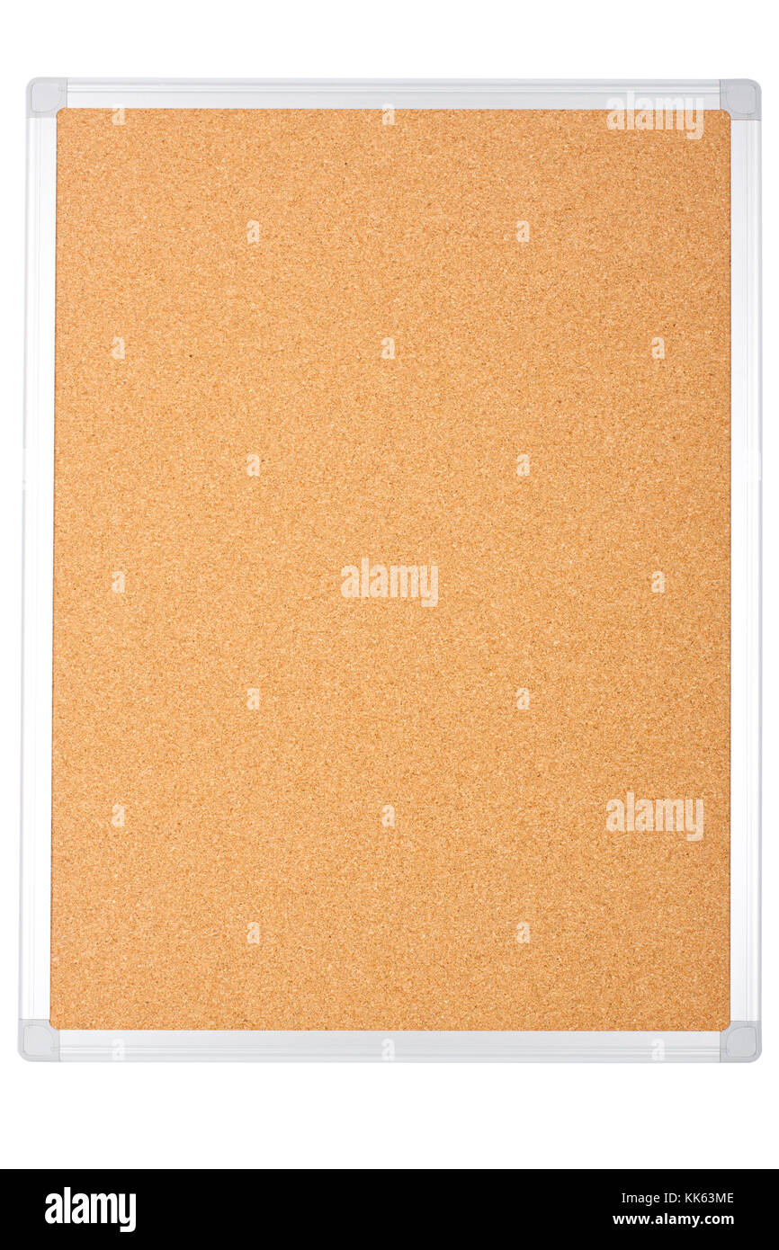 blank office corkboard isolated on white background. Stock Photo
