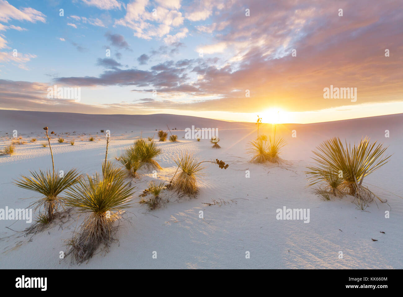 Unusual White Sand Dunes at White Sands National Monument, New Mexico, USA - Stock Image