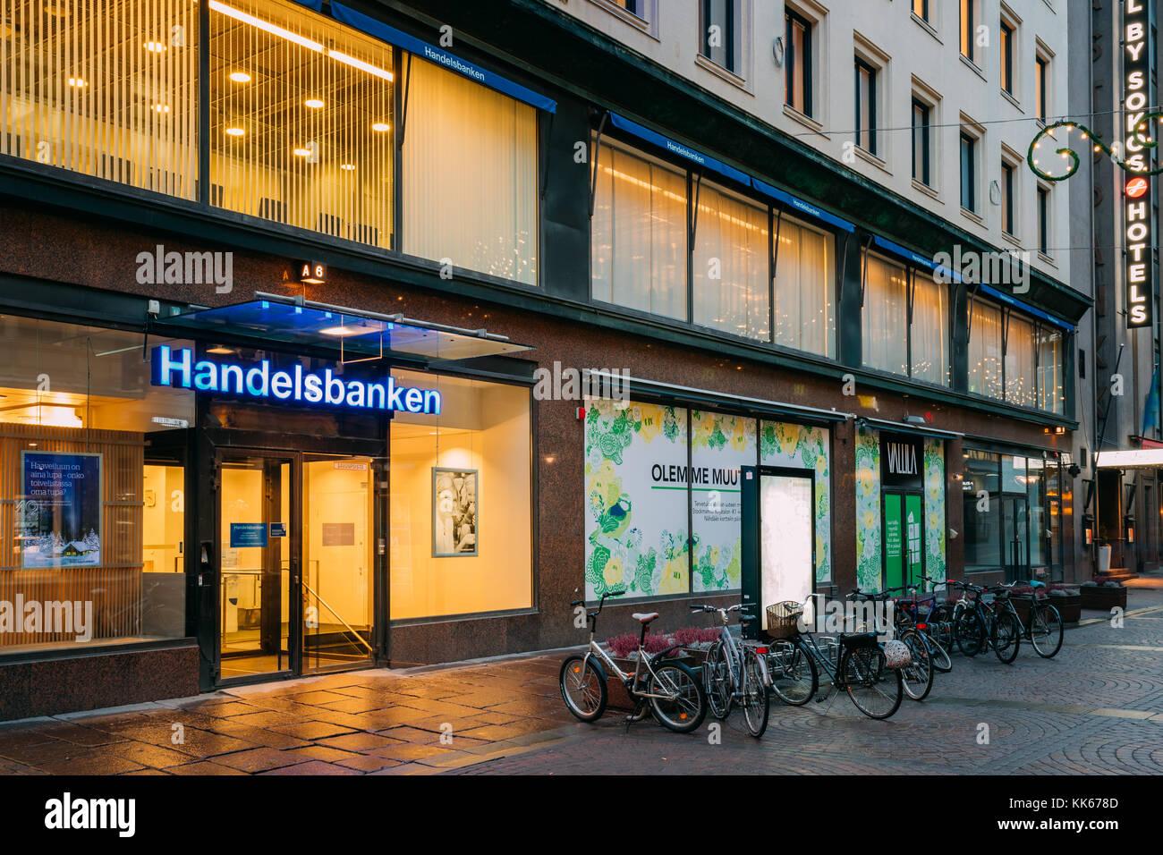 Helsinki, Finland - December 8, 2016: Svenska Handelsbanken AB On Kluuvikatu Street Is Swedish Bank Providing Universal - Stock Image