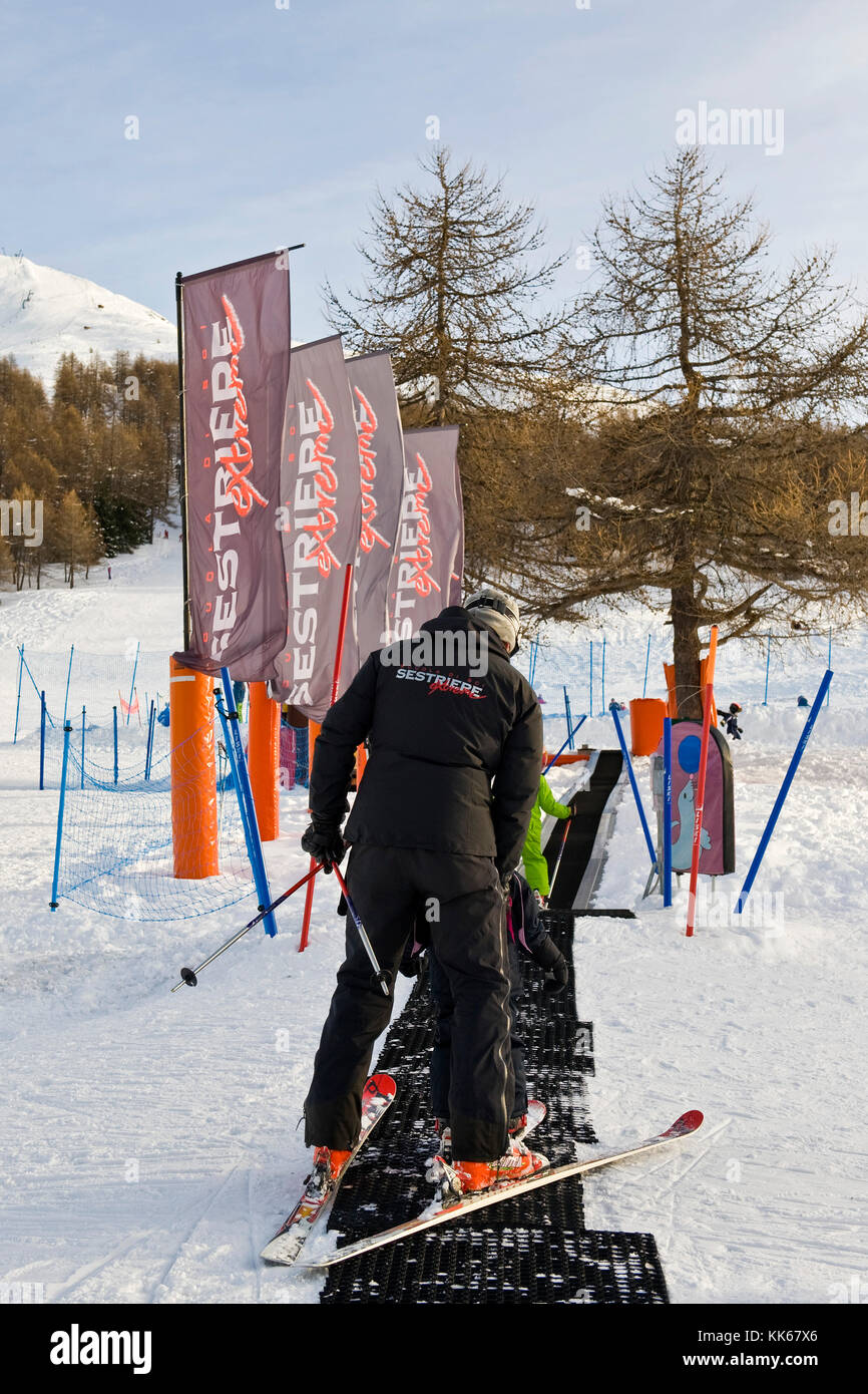 Ski instructor, Sestriere, Turin province, Piedmont, Italy - Stock Image