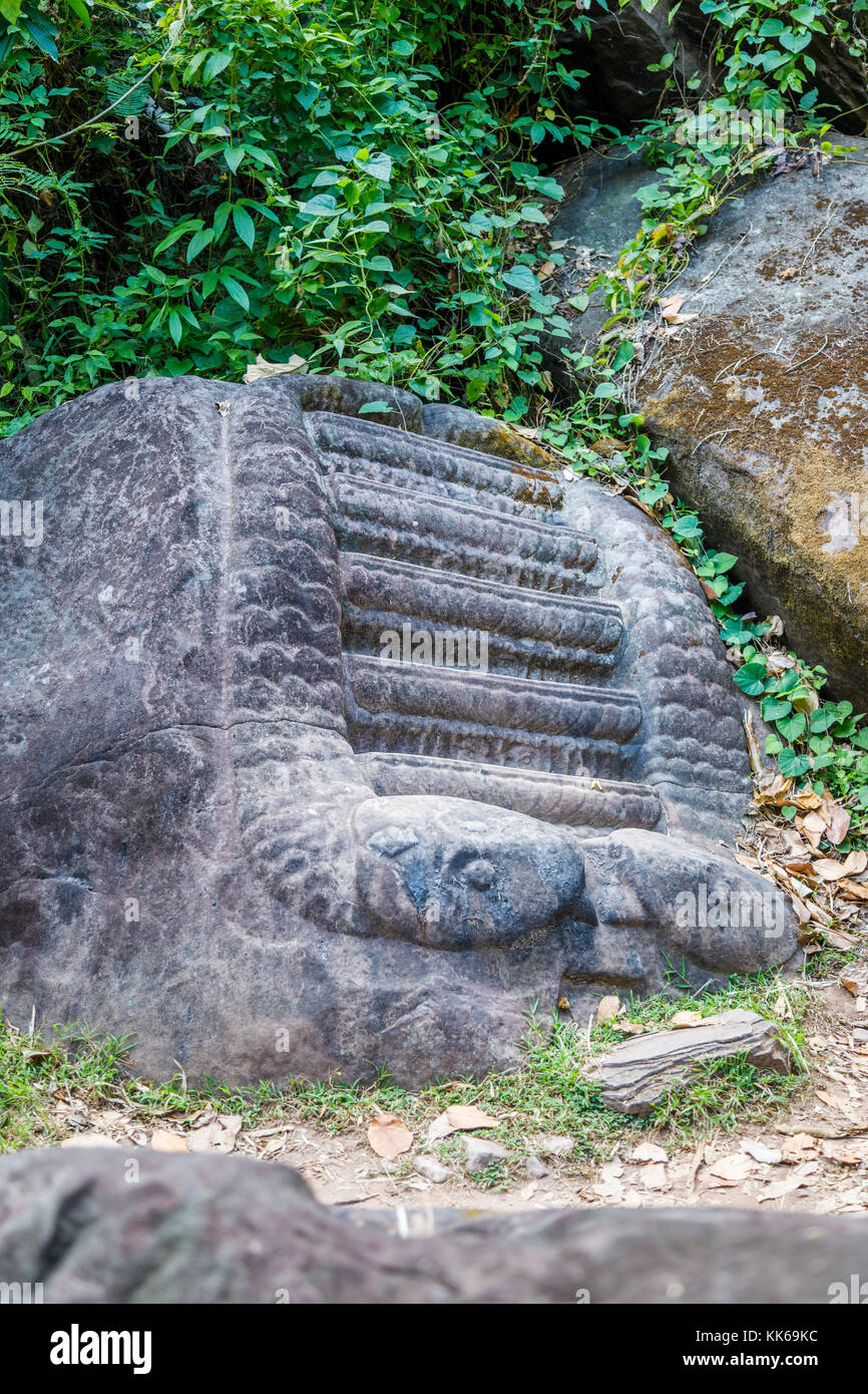 Carved steps possibly used for human sacrifices in the ruins of the pre-Angkorian Khmer Hindu temple of Wat Phou, Stock Photo