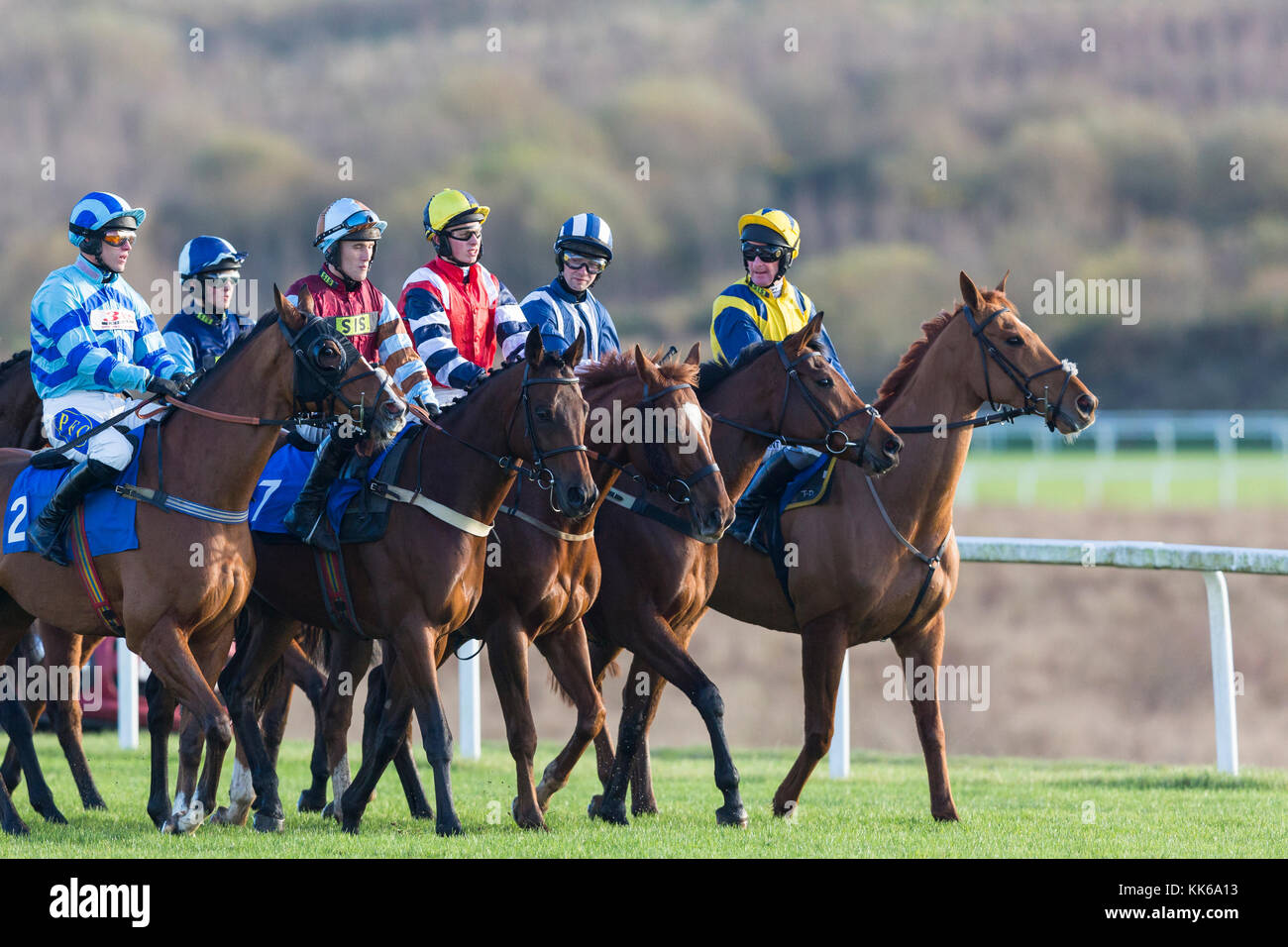 Jockeys and horses prepare to start a race at Ffos Las, Trimsaran, Carmarthenshire, Wales - Stock Image
