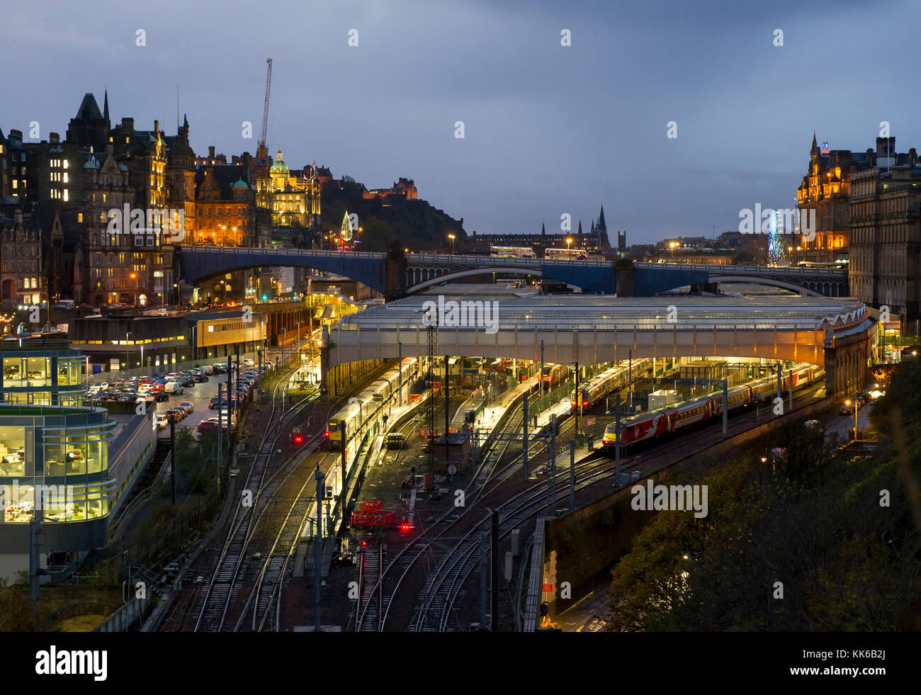 A view of Waverley Station in  Edinburgh city centre. - Stock Image