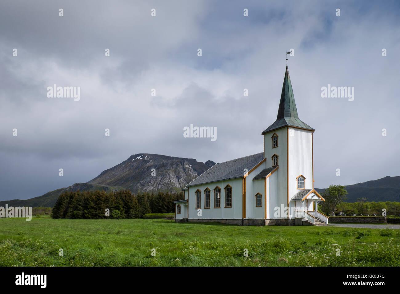 White wooden Valberg church, Vestvagoy, Lofoten, Norway - Stock Image