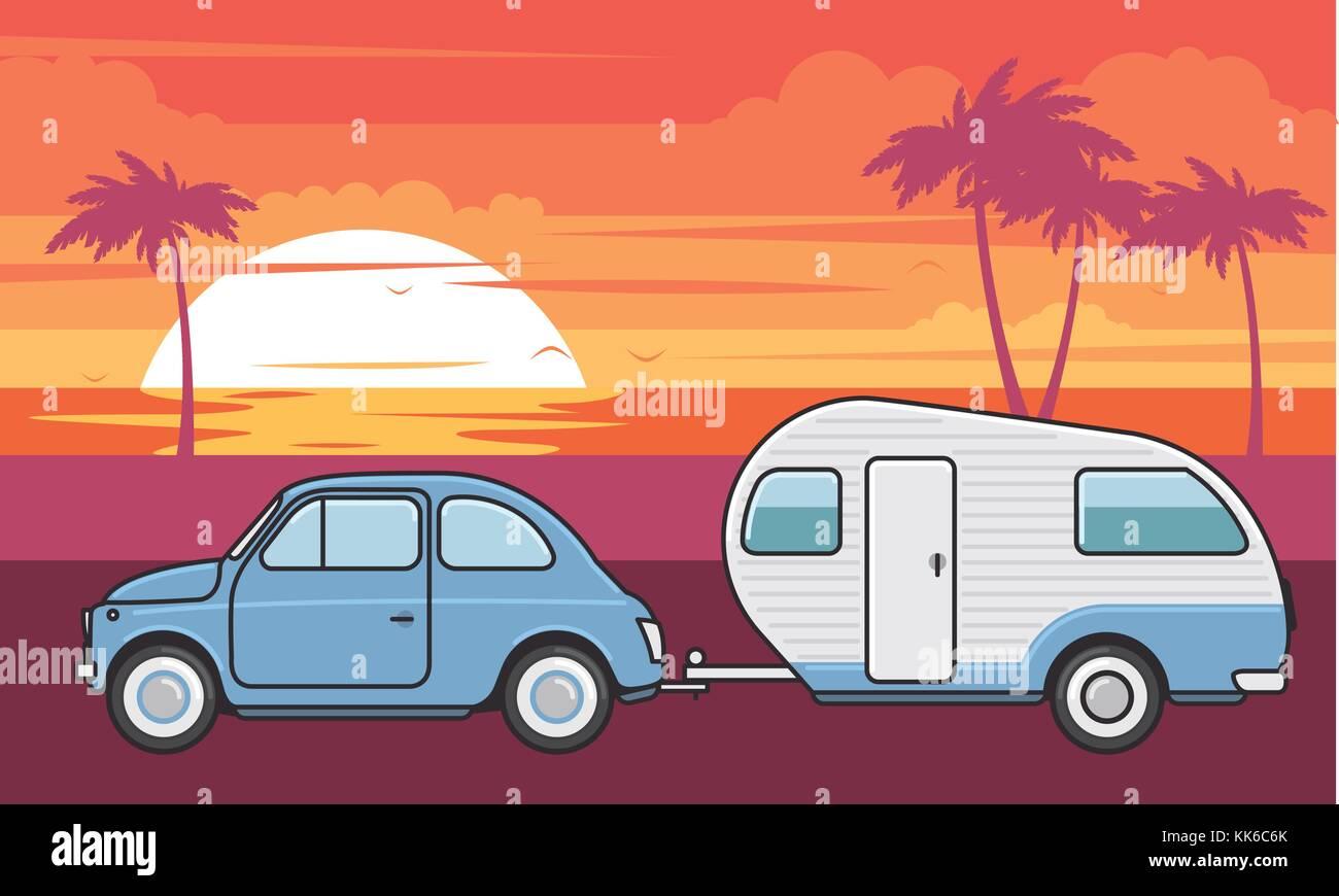 Retro Car With Camper Trailer
