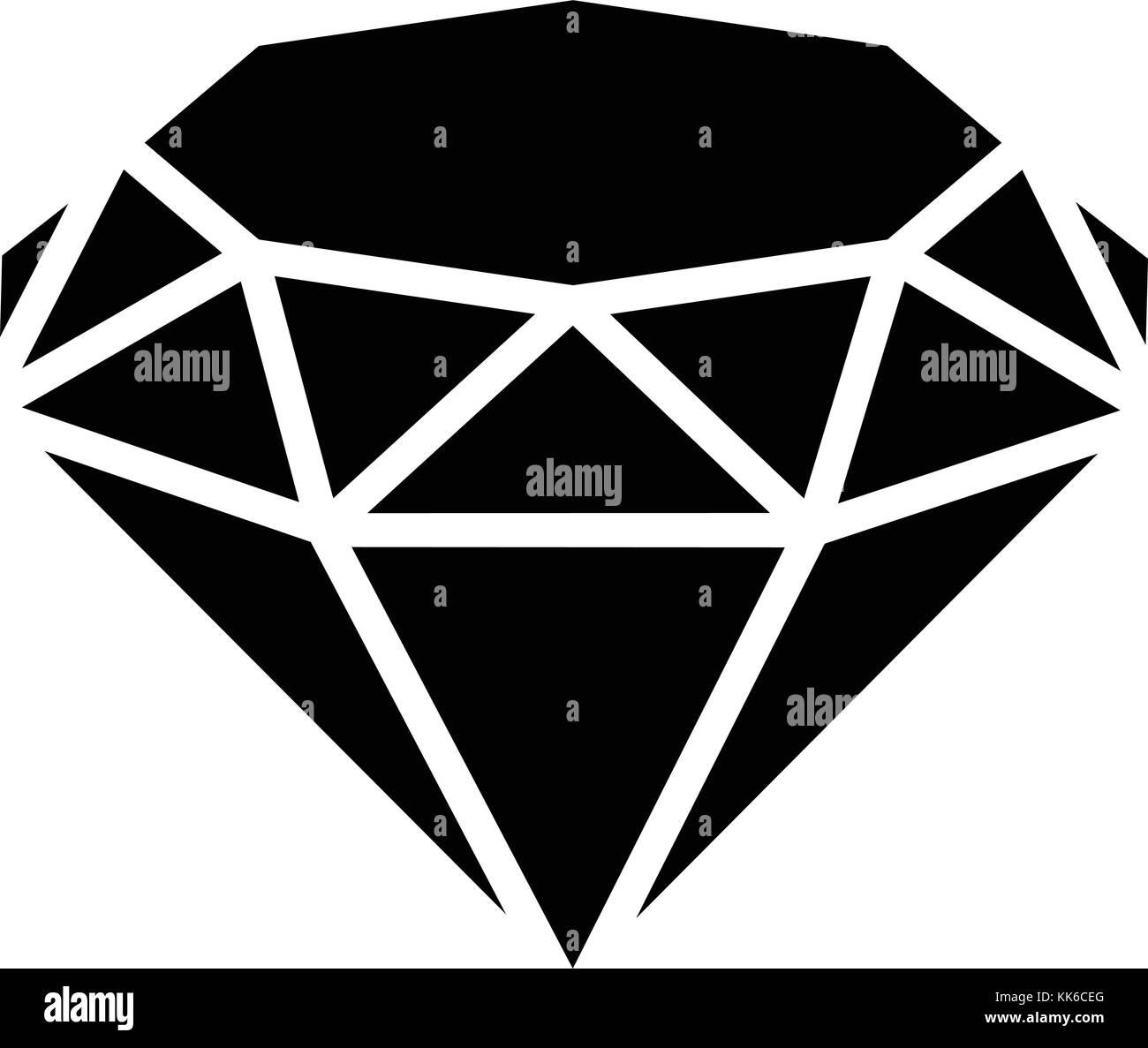 Diamond icon, simple black style - Stock Image