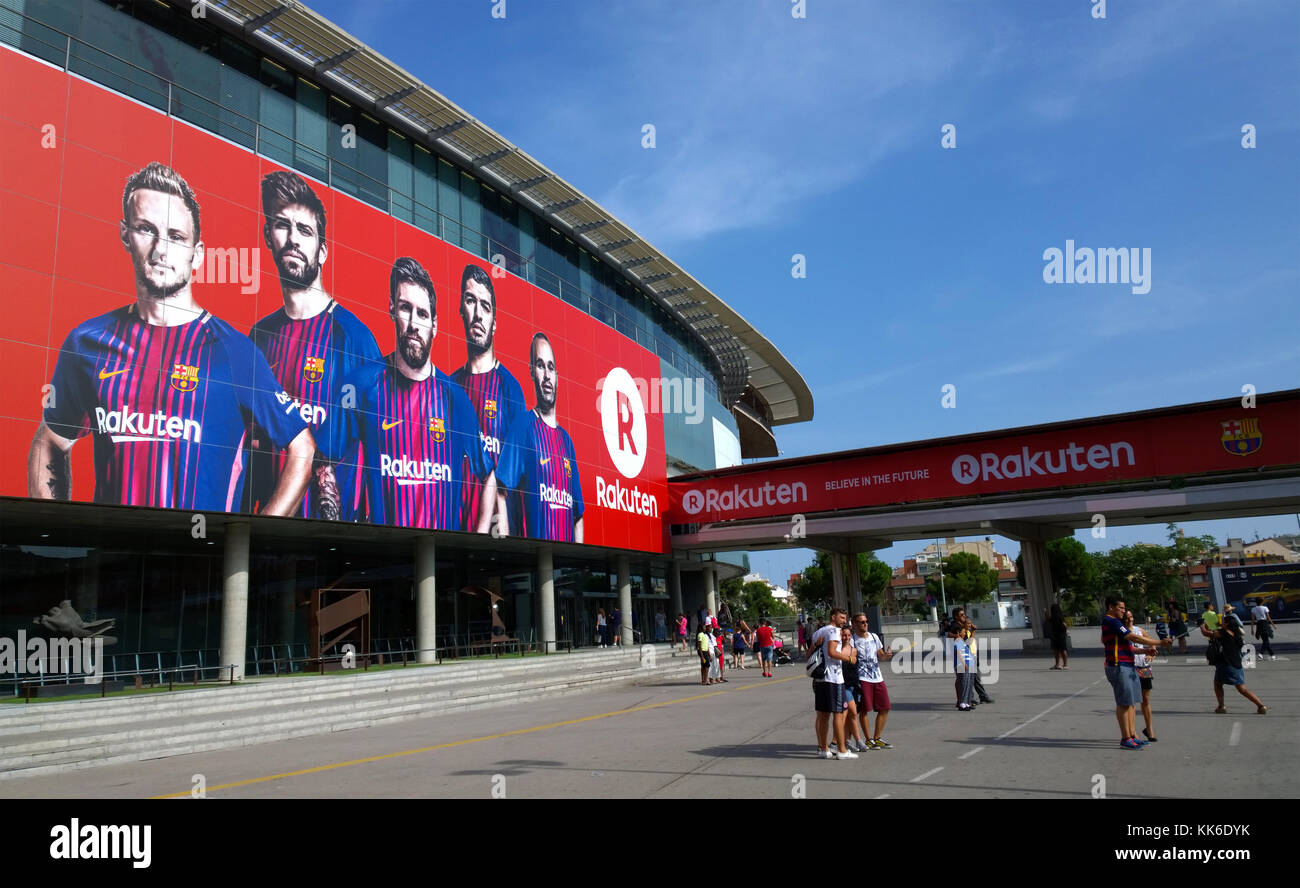View of the exterior of Camp Nou stadium in Barcelona, Spain Stock Photo