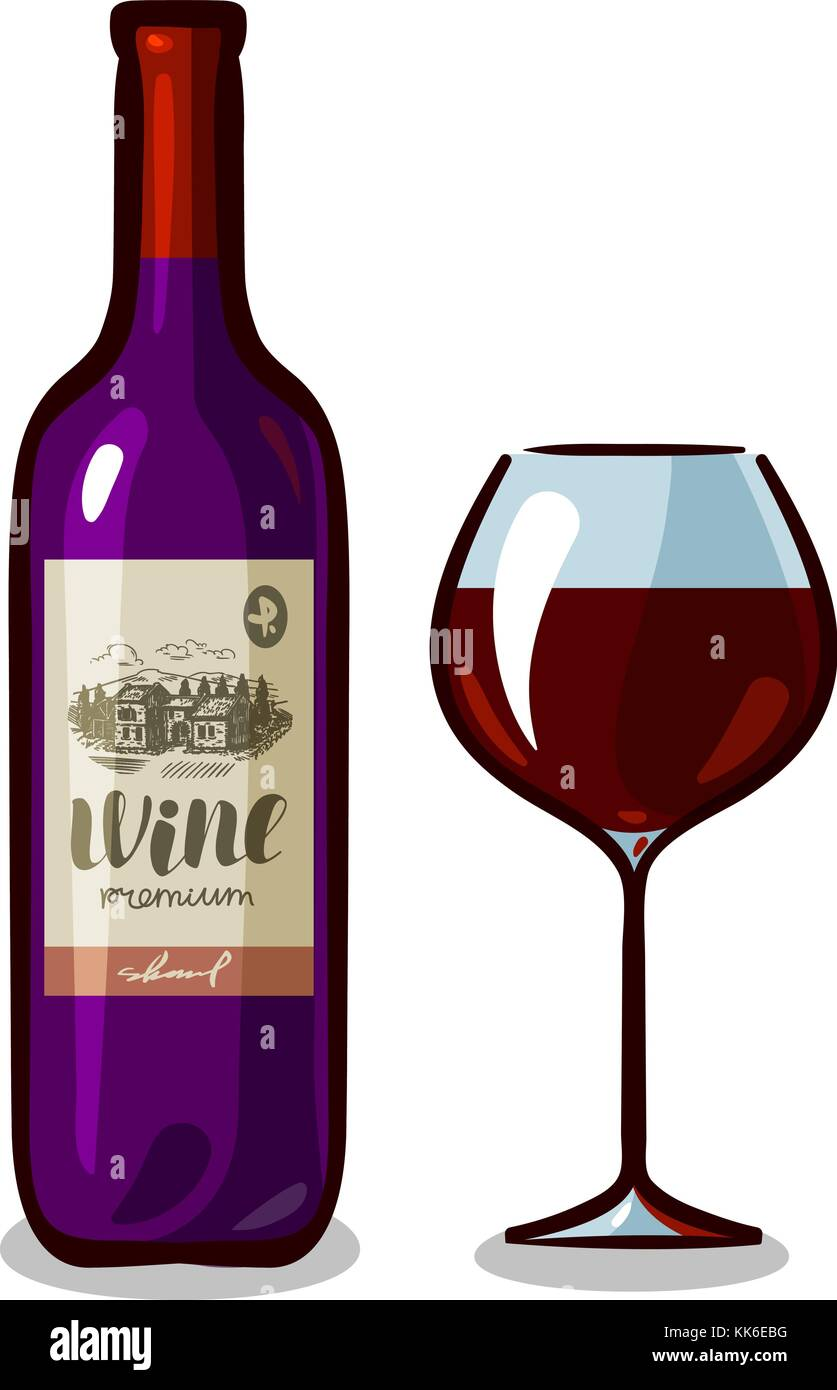 Bottle of wine and glass. Winery, alcoholic drink, beverage concept. Vector illustration Stock Vector