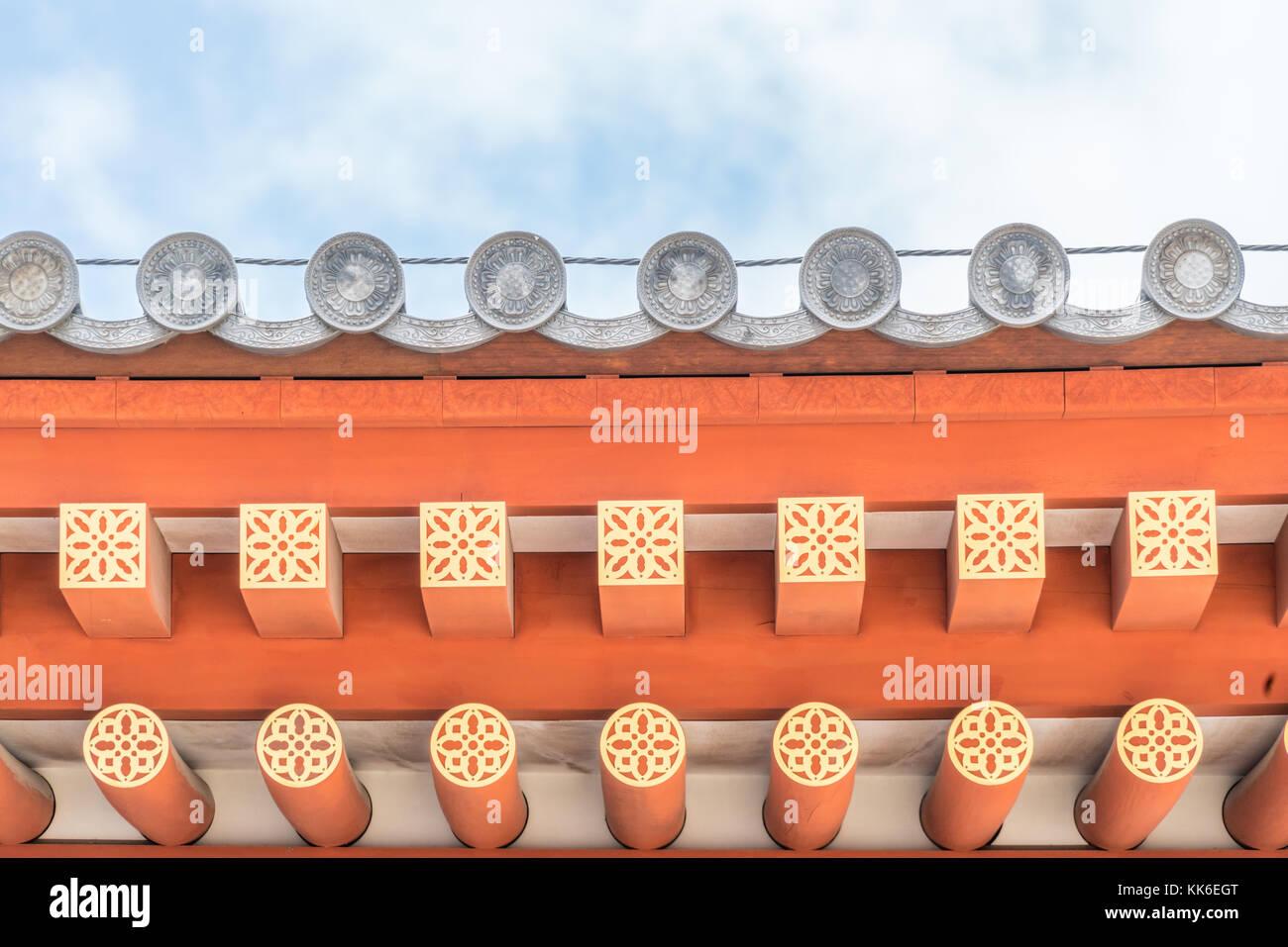 Yakushi-Ji temple, Jikido (Refectory Hall). Tanben rengemon style (lotus flower motif) Gatou (Eave-end tile) And - Stock Image