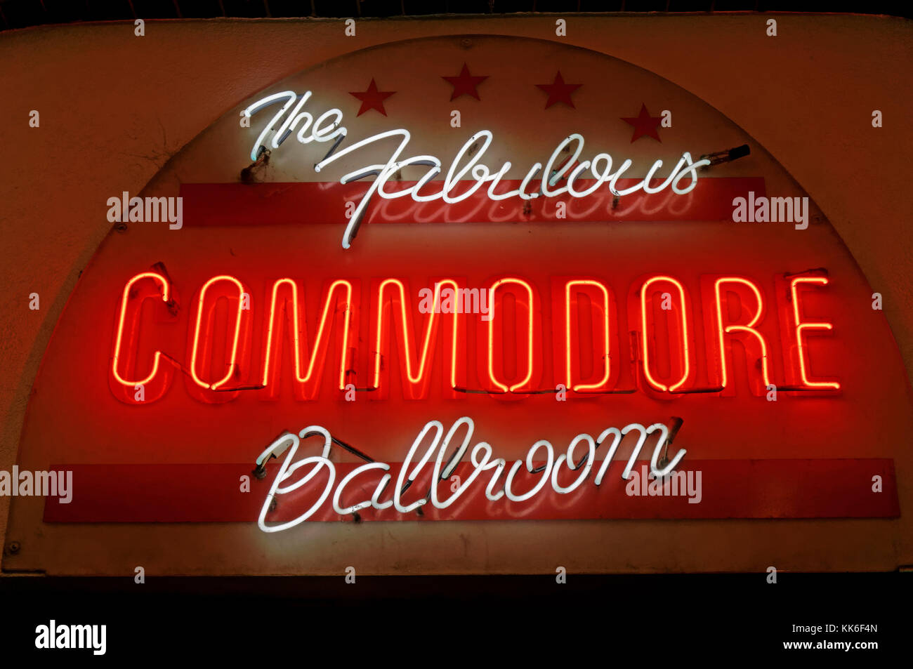 The Commodore Ballroom illuminated neon sign at night, Granville Street, Vancouver, BC, Canada - Stock Image