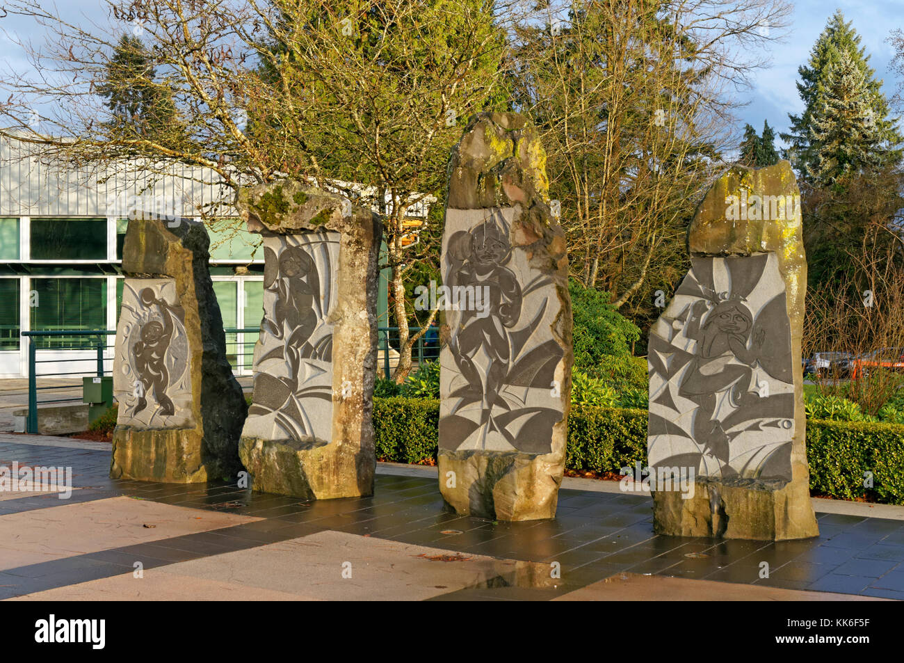 Contemporary First Nations stone sculptures by Thomas Cannell in Spirit Square, Jack Shadbolt Centre for the Arts, Stock Photo