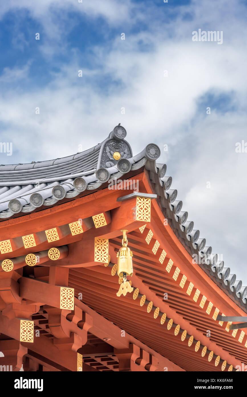 Hengaku (Golden inscription) Toribusuma (bird perch tile), Sumigawara (corner eave tile) and Sumikudarimune (Corner Stock Photo