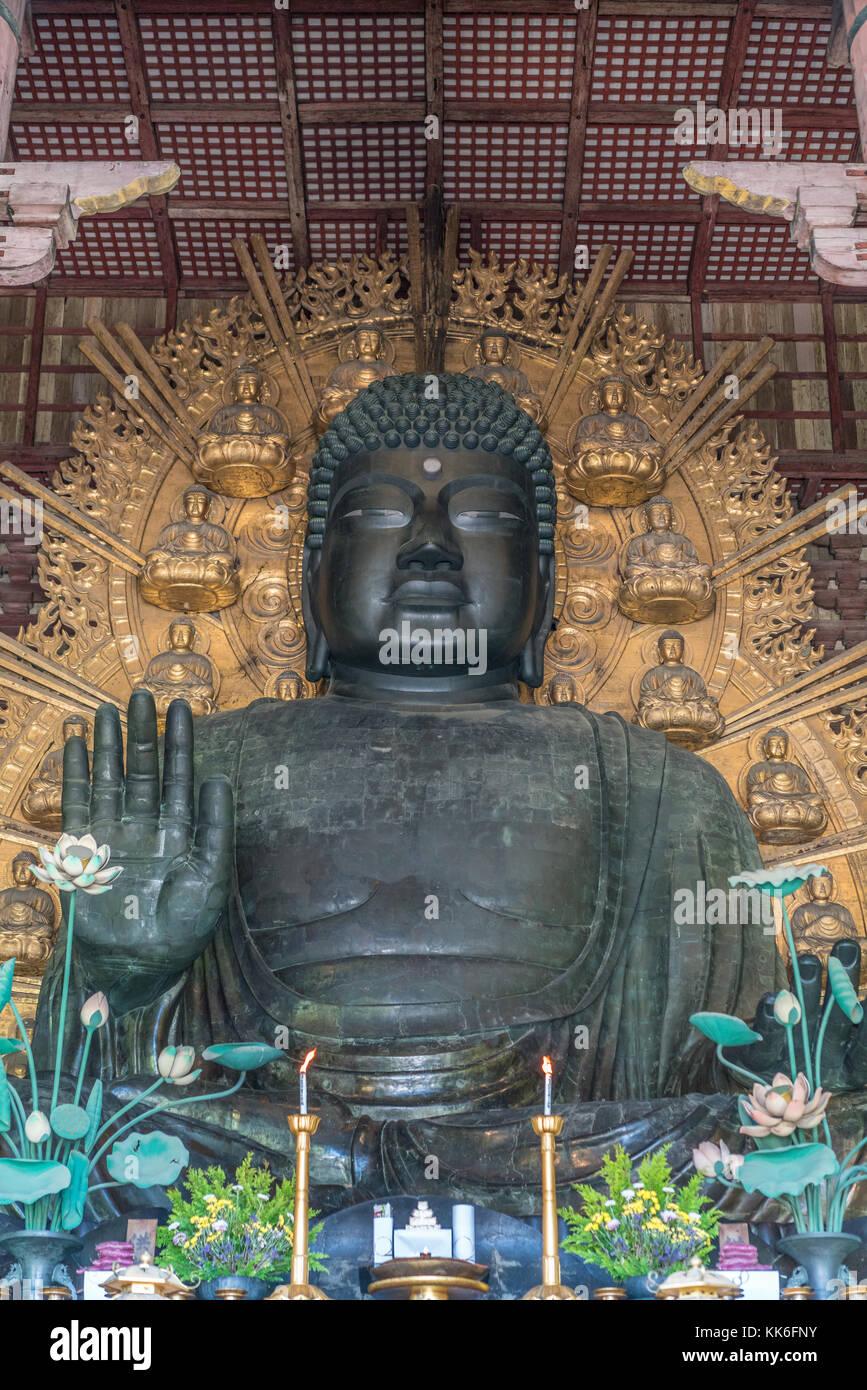 Nara, Japan - August 24, 2017 : The great Buddha (Daibutsu) Japan's largest bronze statue of Buddha. It represents Stock Photo