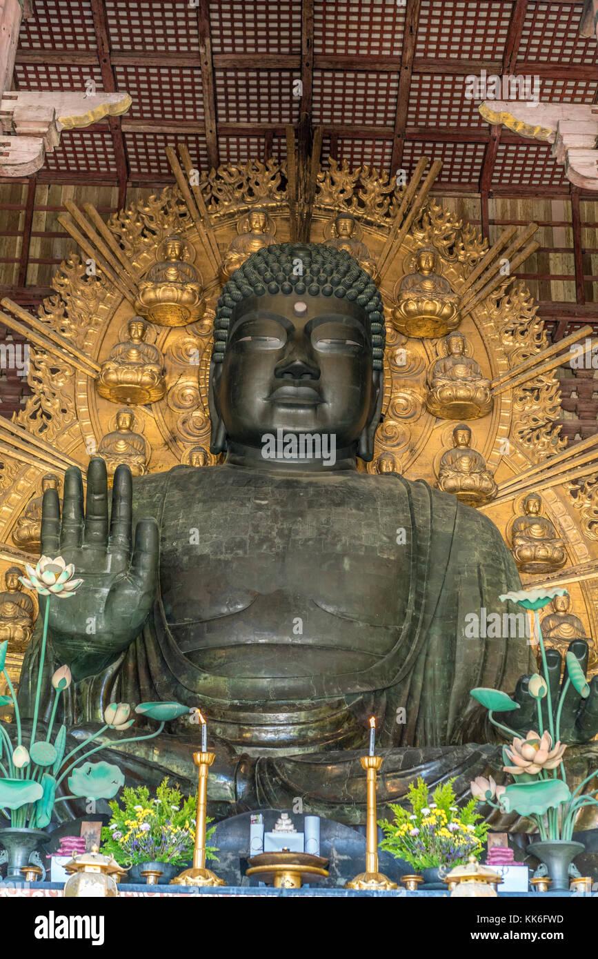 Nara, Japan - August 24, 2017 : The great Buddha (Daibutsu) Japan's largest bronze statue of Buddha. It represents - Stock Image