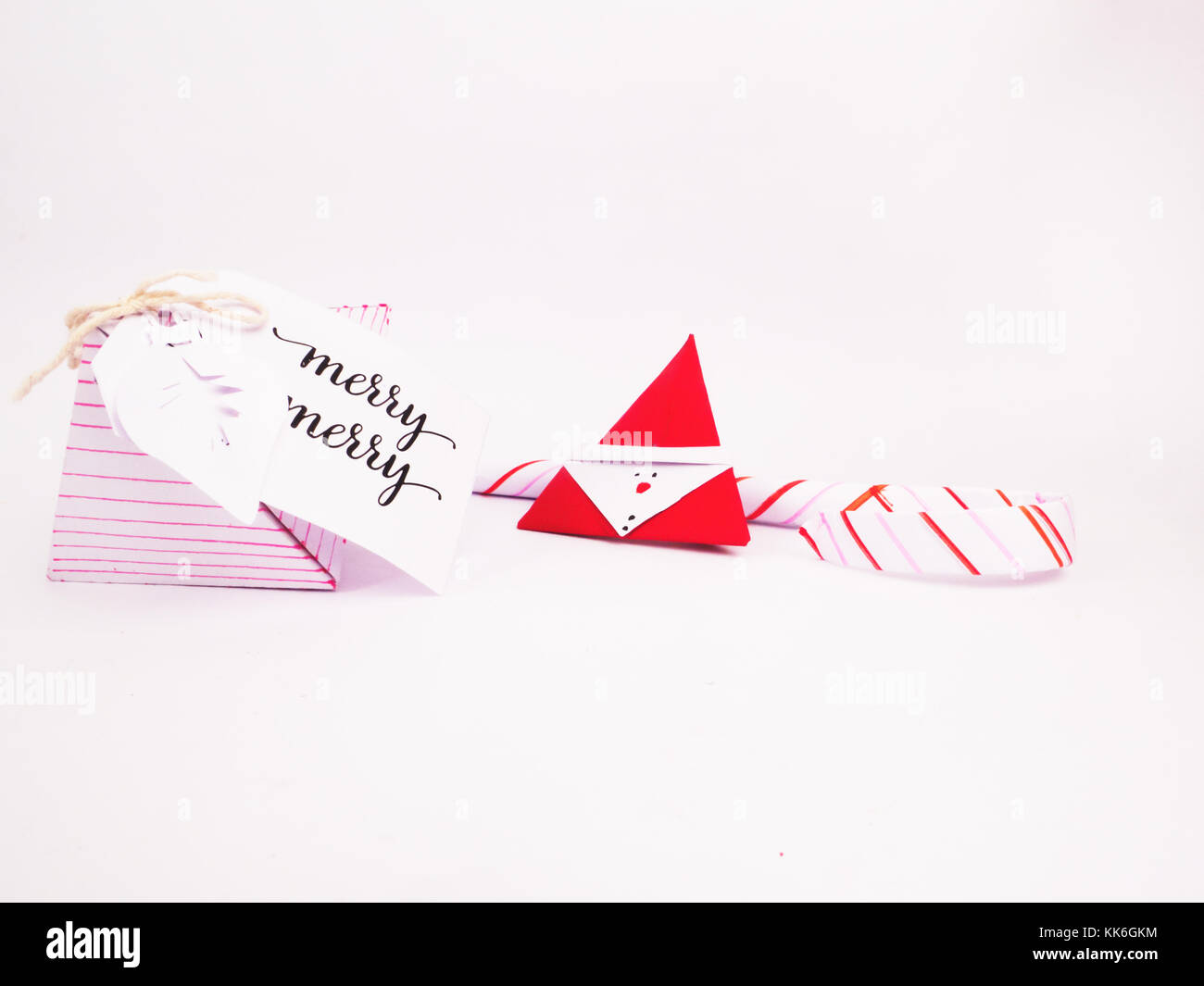 Flat Lay Christmas Decoration with diamond box and candy canes for holidays best background image for Holiday invitation - Stock Image