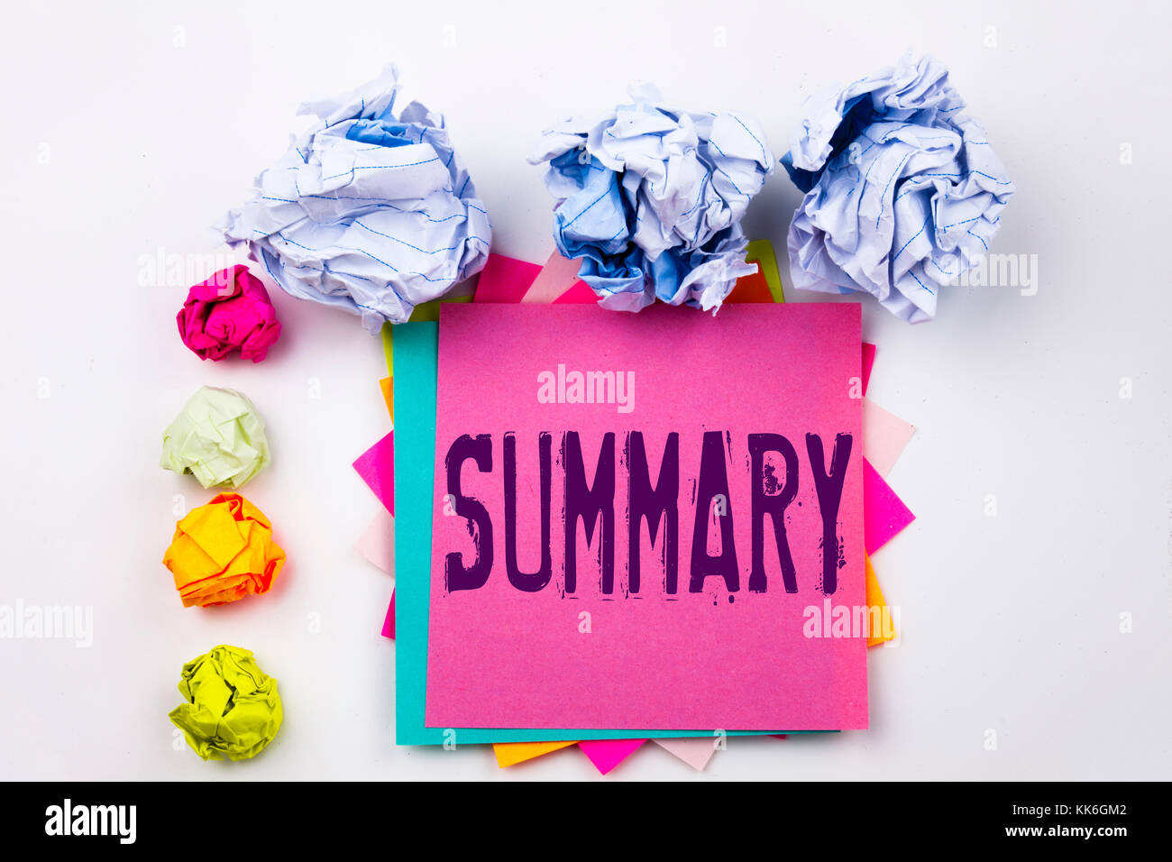 Writing text showing Summary written on sticky note in office with screw paper balls. Business concept for Brief - Stock Image