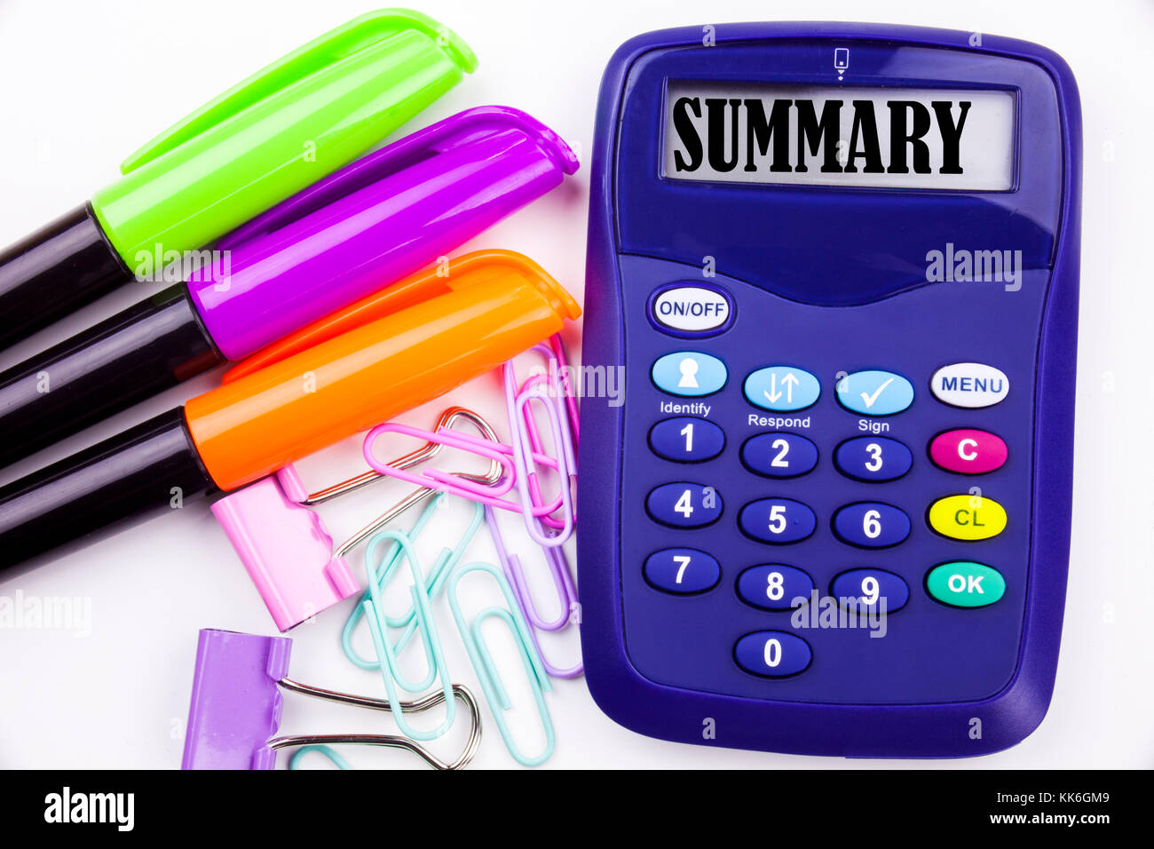 Writing word Summary text in the office with surroundings such as marker, pen writing on calculator. Business concept - Stock Image