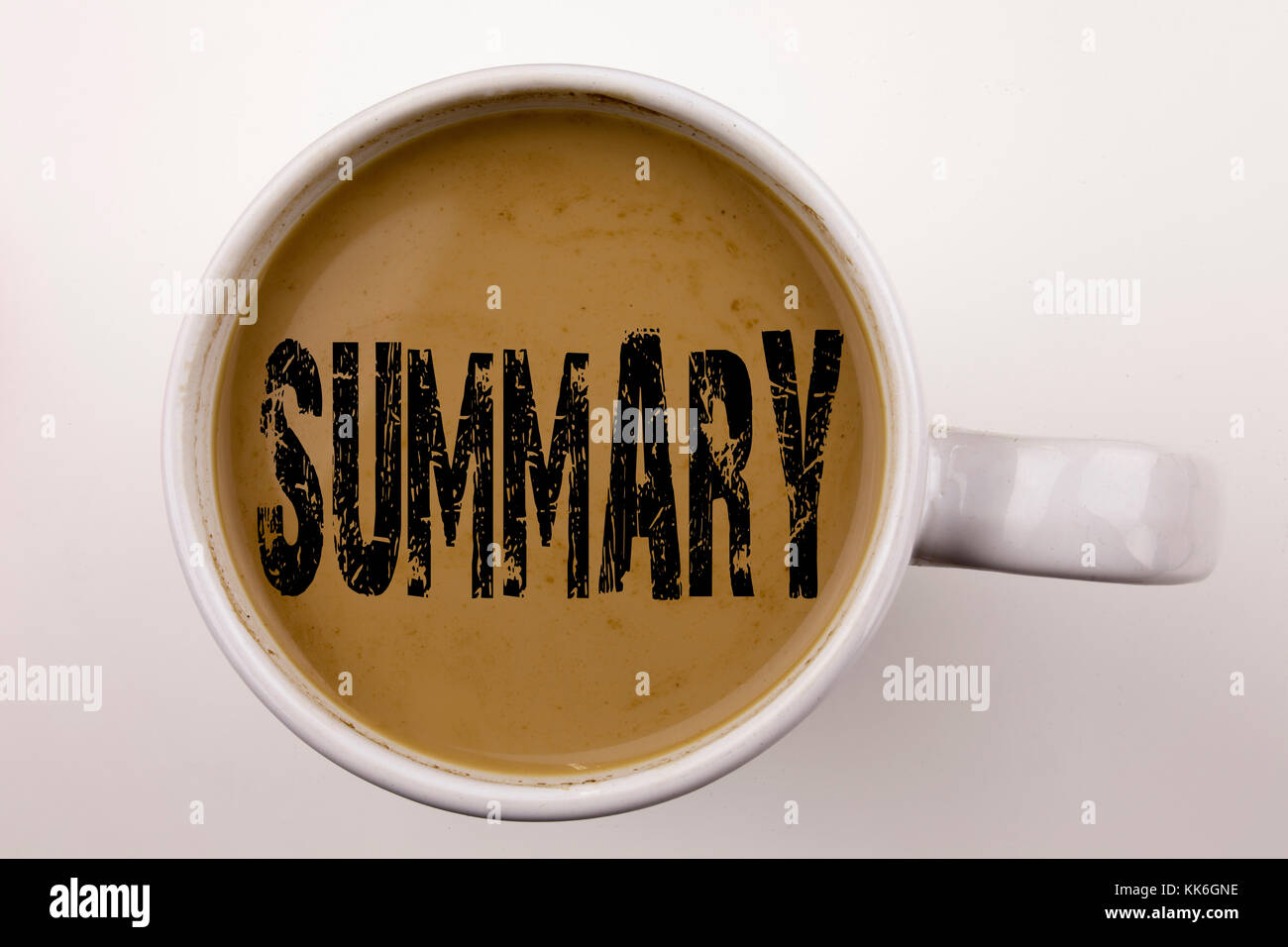 Word, writing Summary text in coffee in cup. Business concept for Brief Review Business Overview on white background - Stock Image