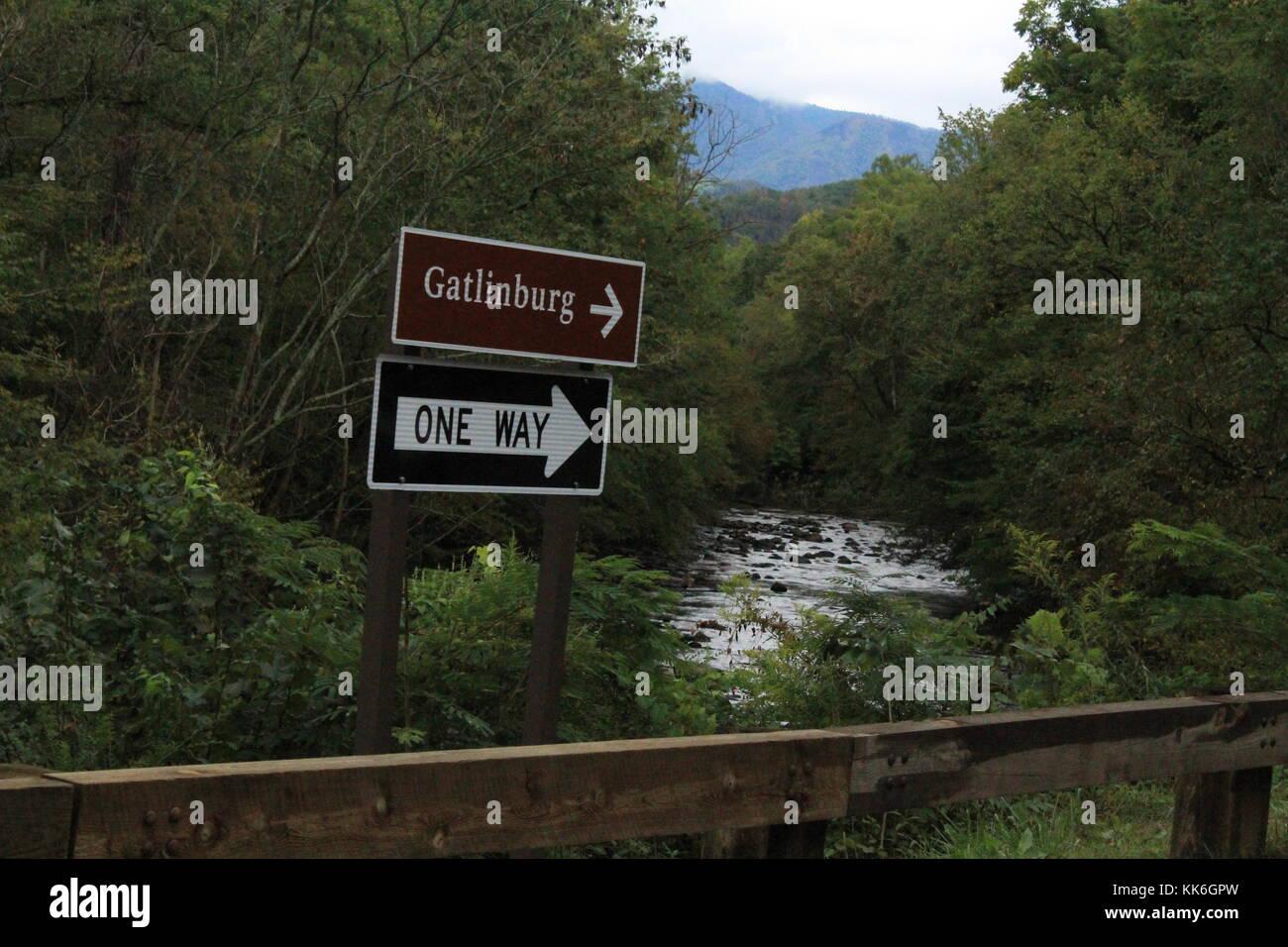 Gatlinburg Tennessee street sign. - Stock Image