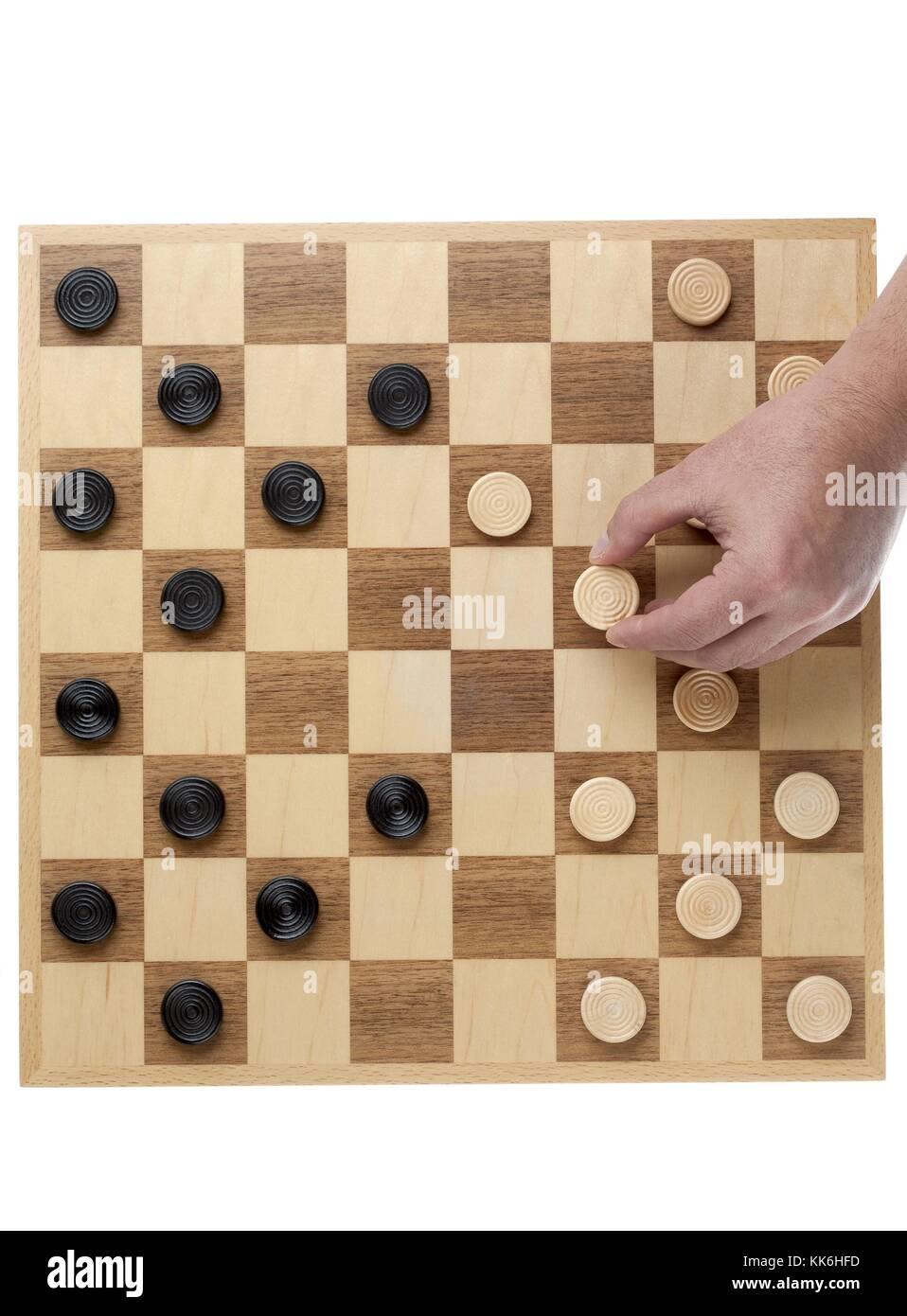 person playing checkers Stock Photo