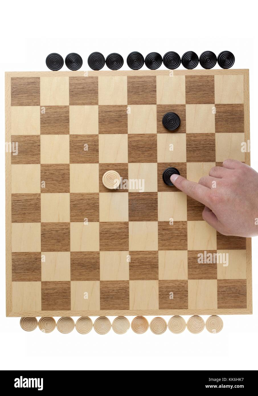 black greater than white on the checkers Stock Photo