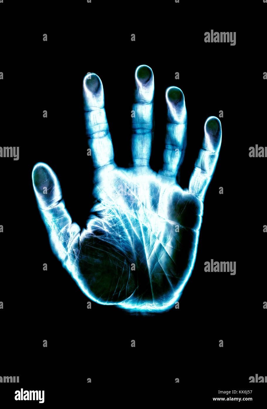 hand scan inverted colors and glowing - Stock Image