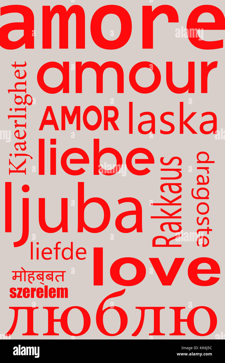 LOVE word written in many languages - Stock Image