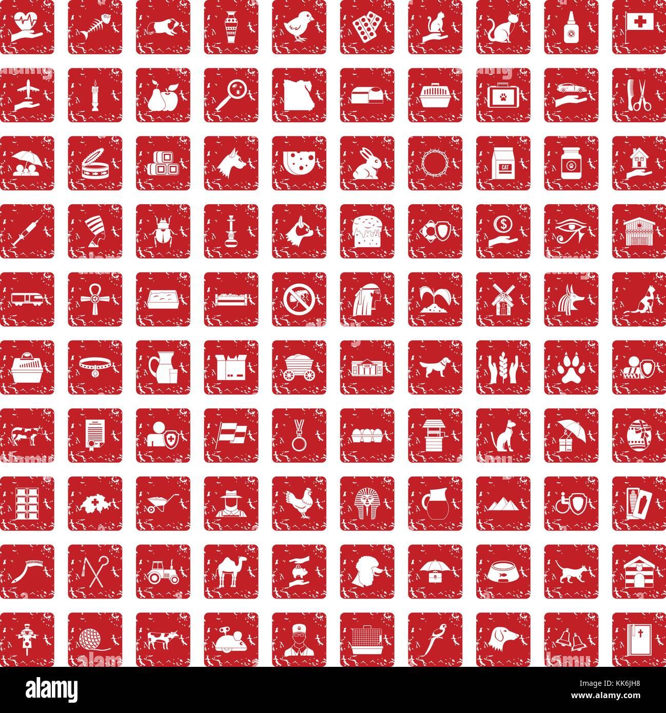 100 pets icons set grunge red - Stock Image