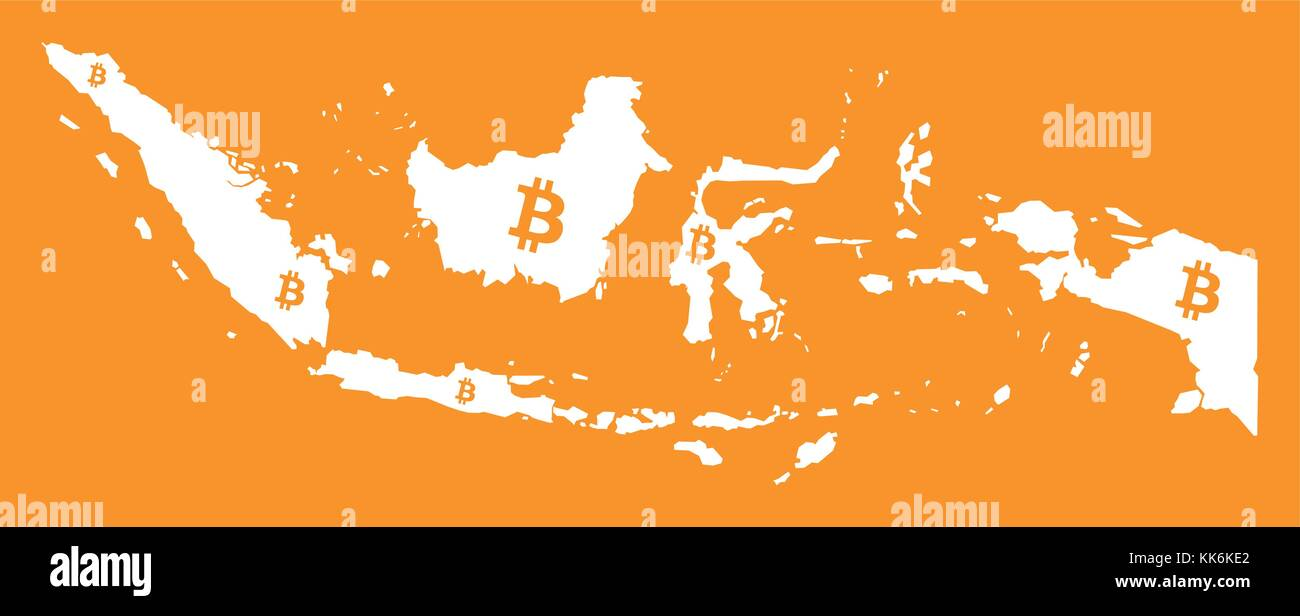 Indonesia Map With Bitcoin Crypto Currency Symbol Illustration Stock Vector Image Art Alamy