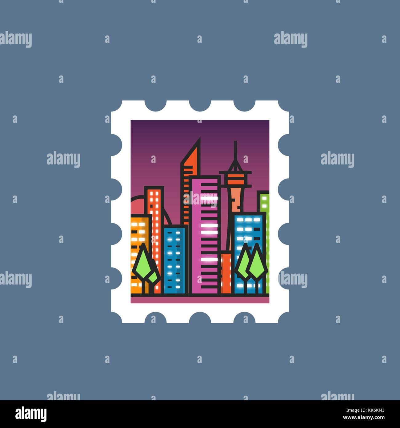 Stamp with night city - Stock Vector