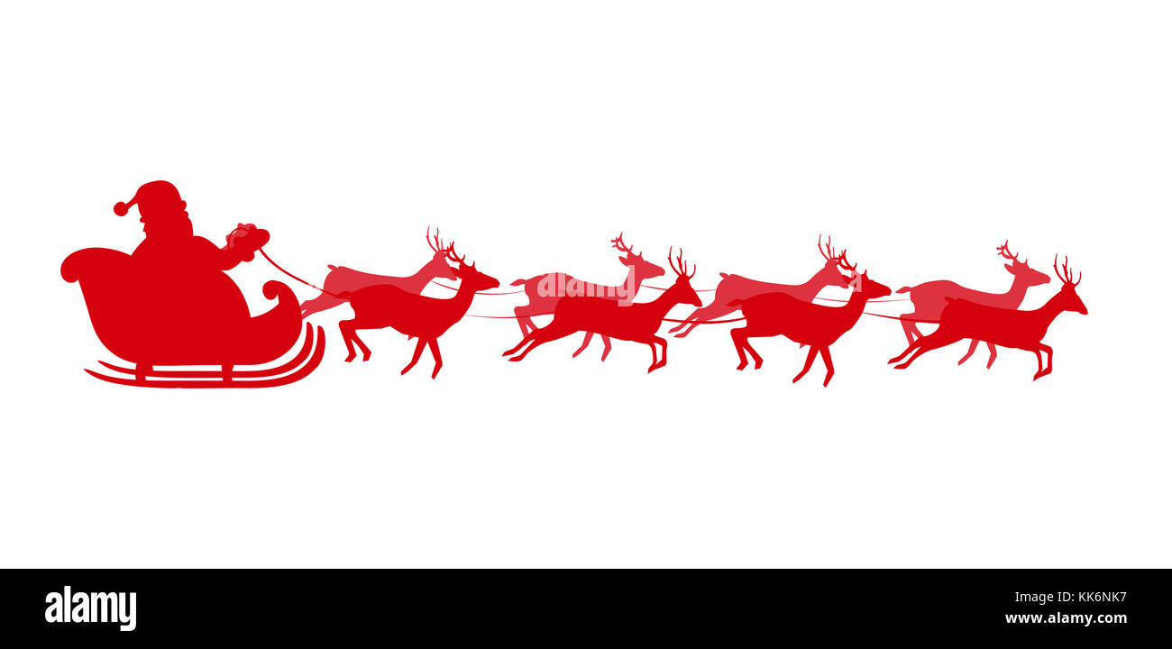 vector illustration of santa flying in a sleigh with reindeer red