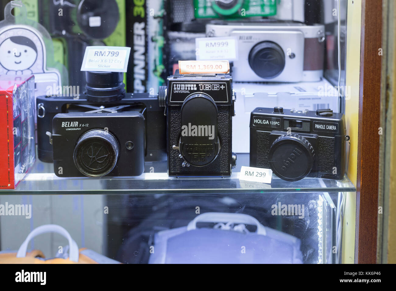 Old cameras on display - Stock Image