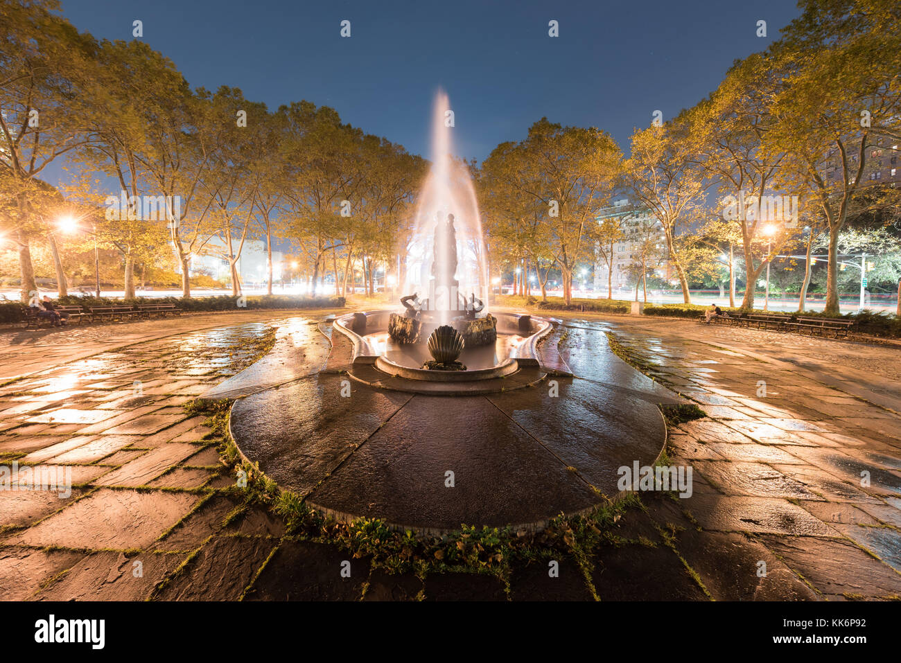 Bailey Fountain is a 19th century outdoor sculpture in New York City Grand Army Plaza, Brooklyn, New York, United - Stock Image