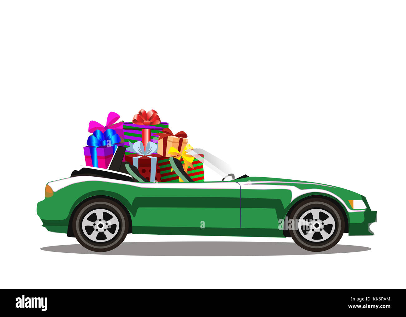 Green modern cartoon cabriolet car full of gift boxes isolated on white background. Sports car. Vector illustration. - Stock Image