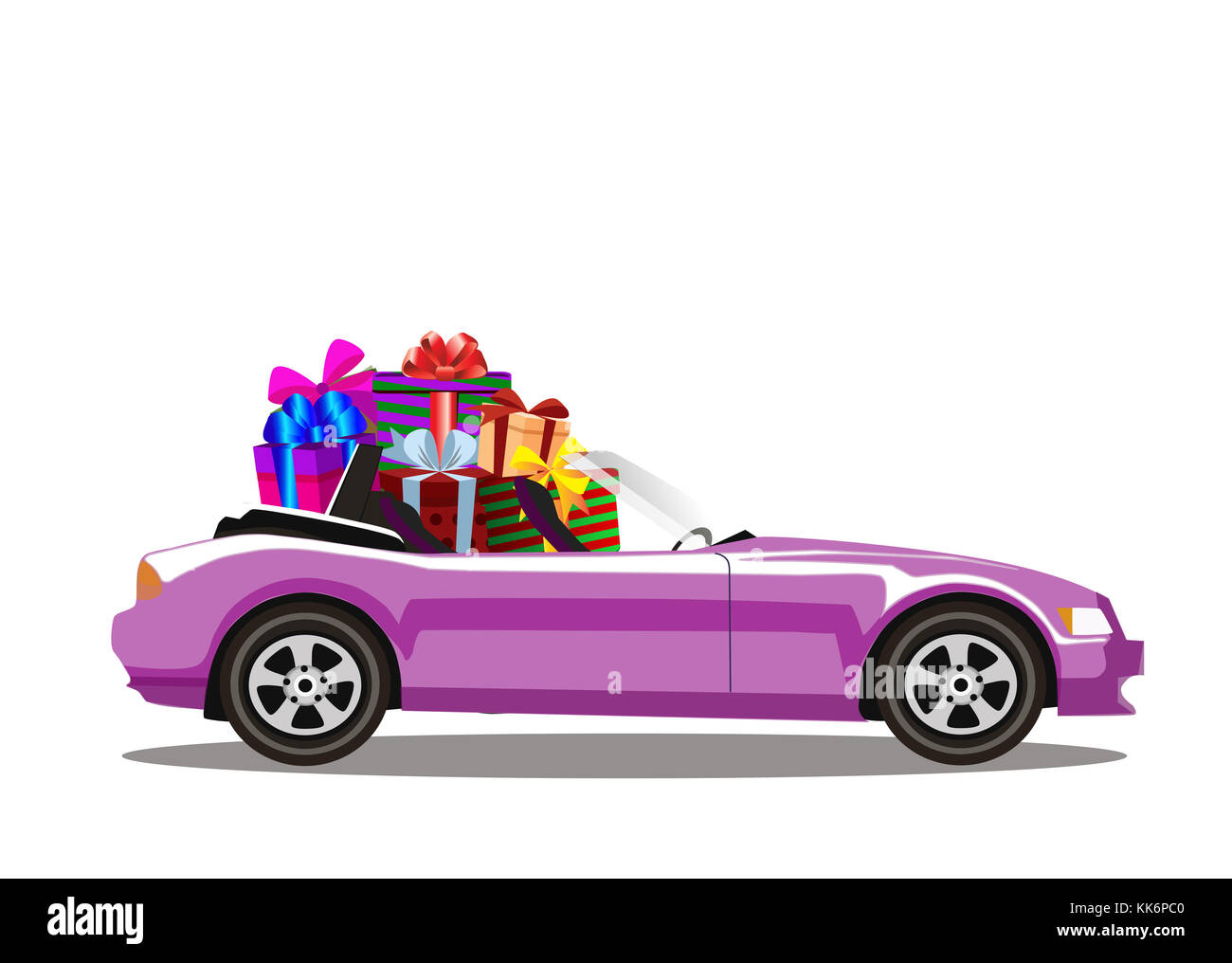 Pink Modern Cartoon Cabriolet Car Full Of Gift Boxes Isolated On