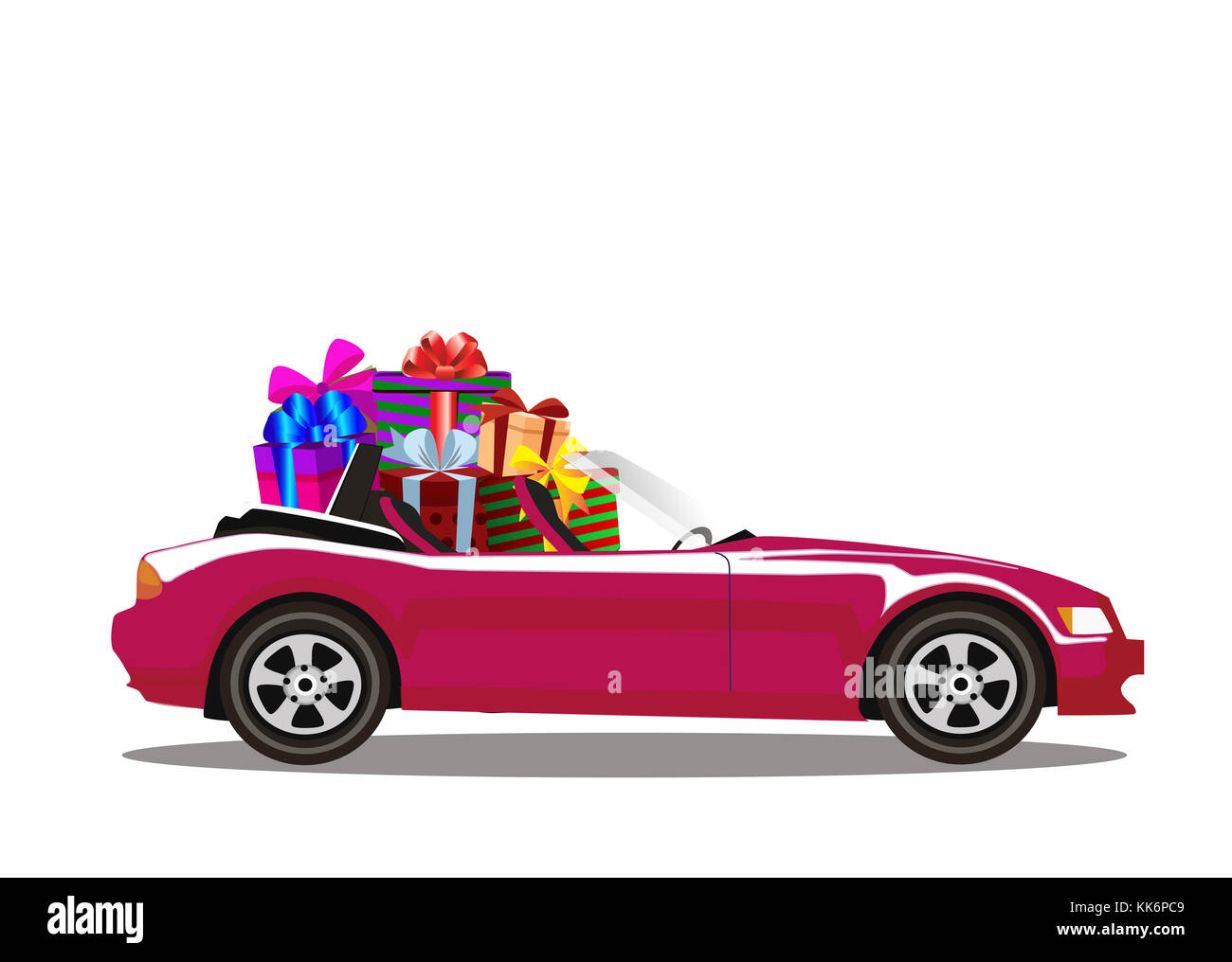 Purple modern cartoon cabriolet car full of gift boxes isolated on white background. Sport car. Vector illustration. - Stock Image