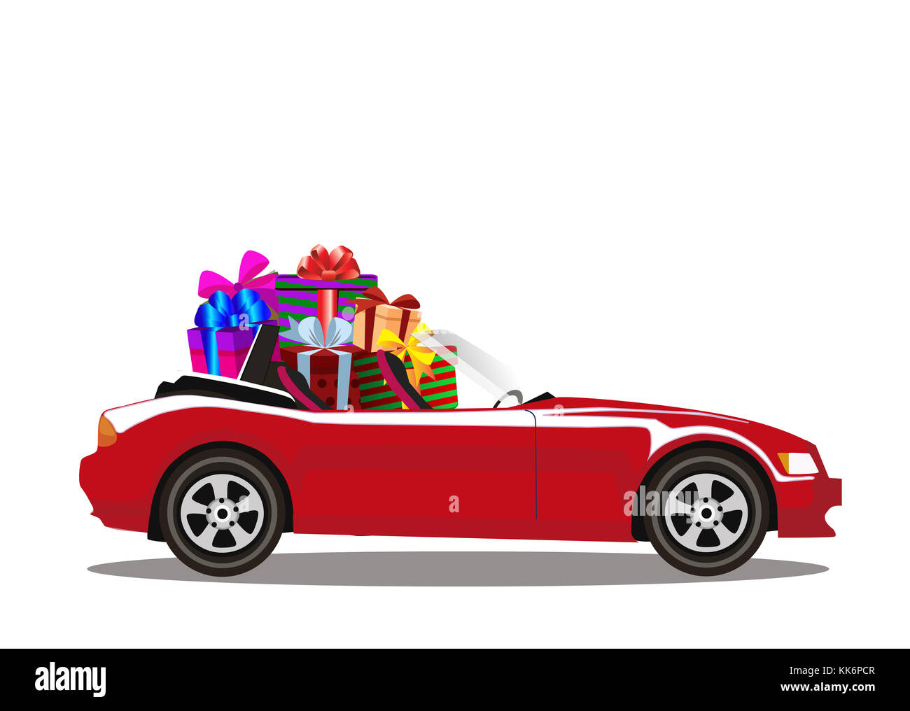 Red modern cartoon cabriolet car full of gift boxes isolated on white background. Sports car. Vector illustration. - Stock Image