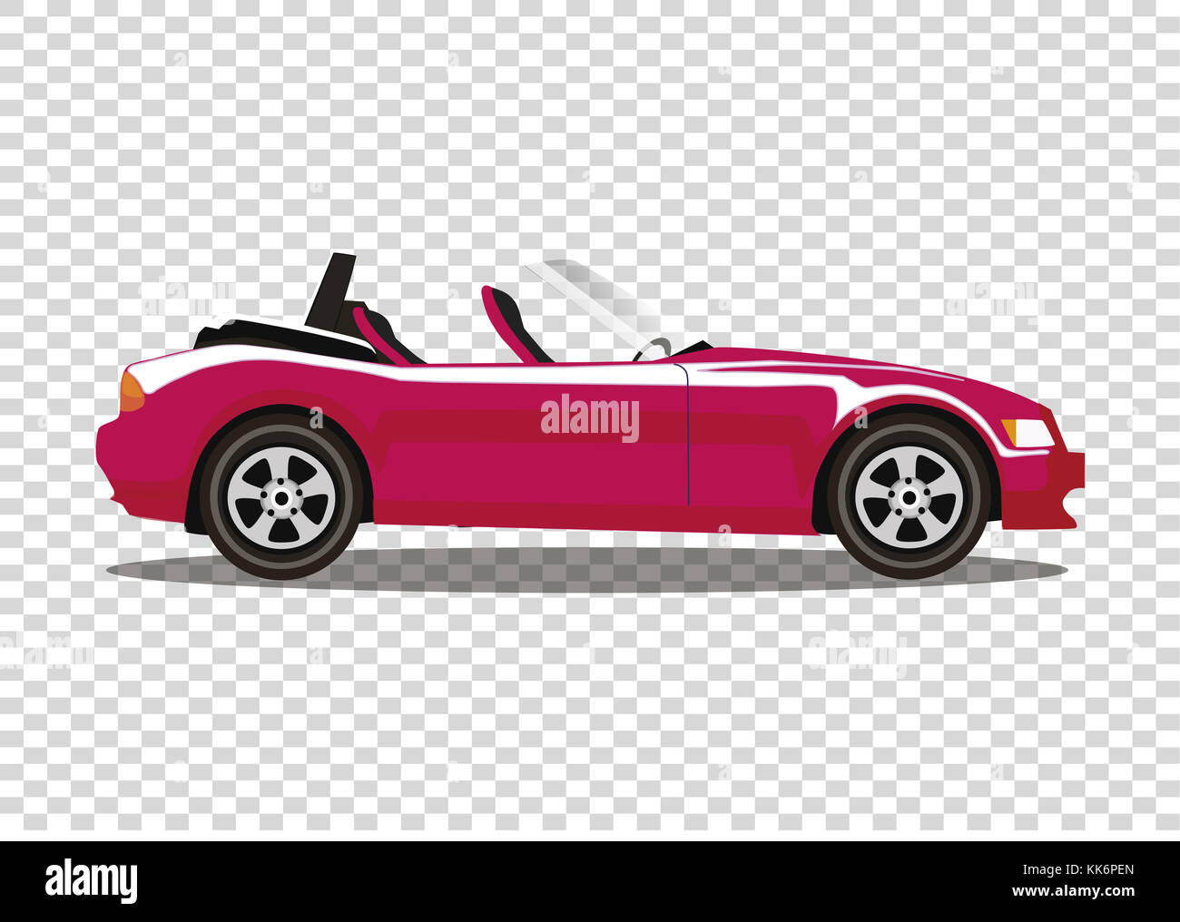 Red Modern Cartoon Colored Cabriolet Car Isolated On