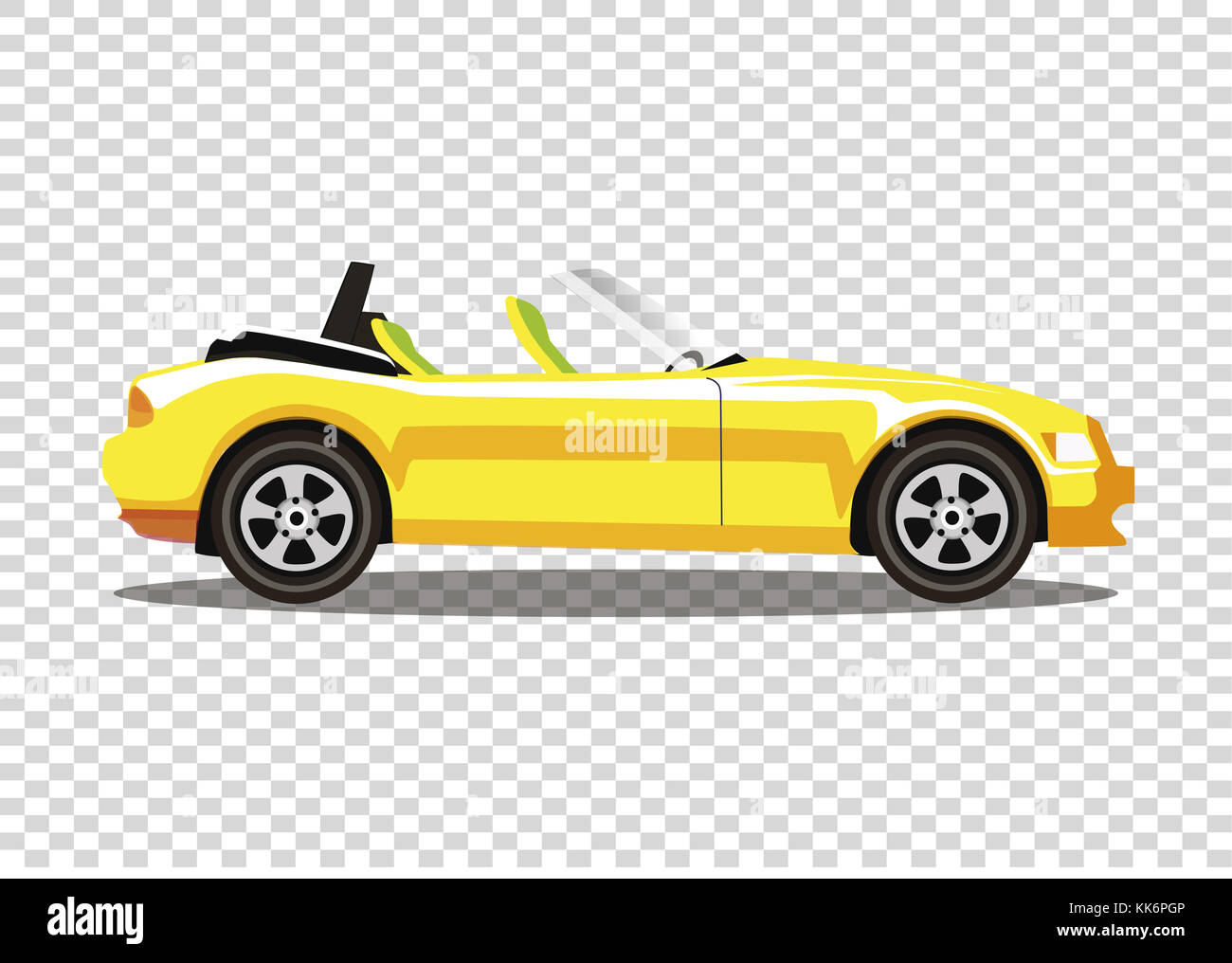 Yellow Modern Cartoon Colored Cabriolet Car Isolated On