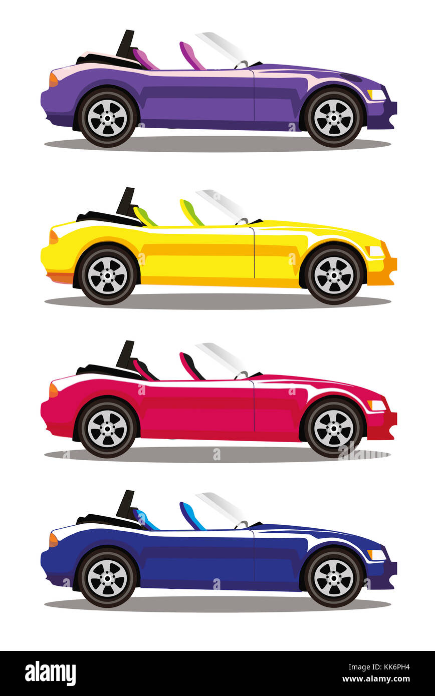 Set of modern cartoon colored cabriolet cars isolated on white background. Sports cars. Blue, yellow, red and violet - Stock Image