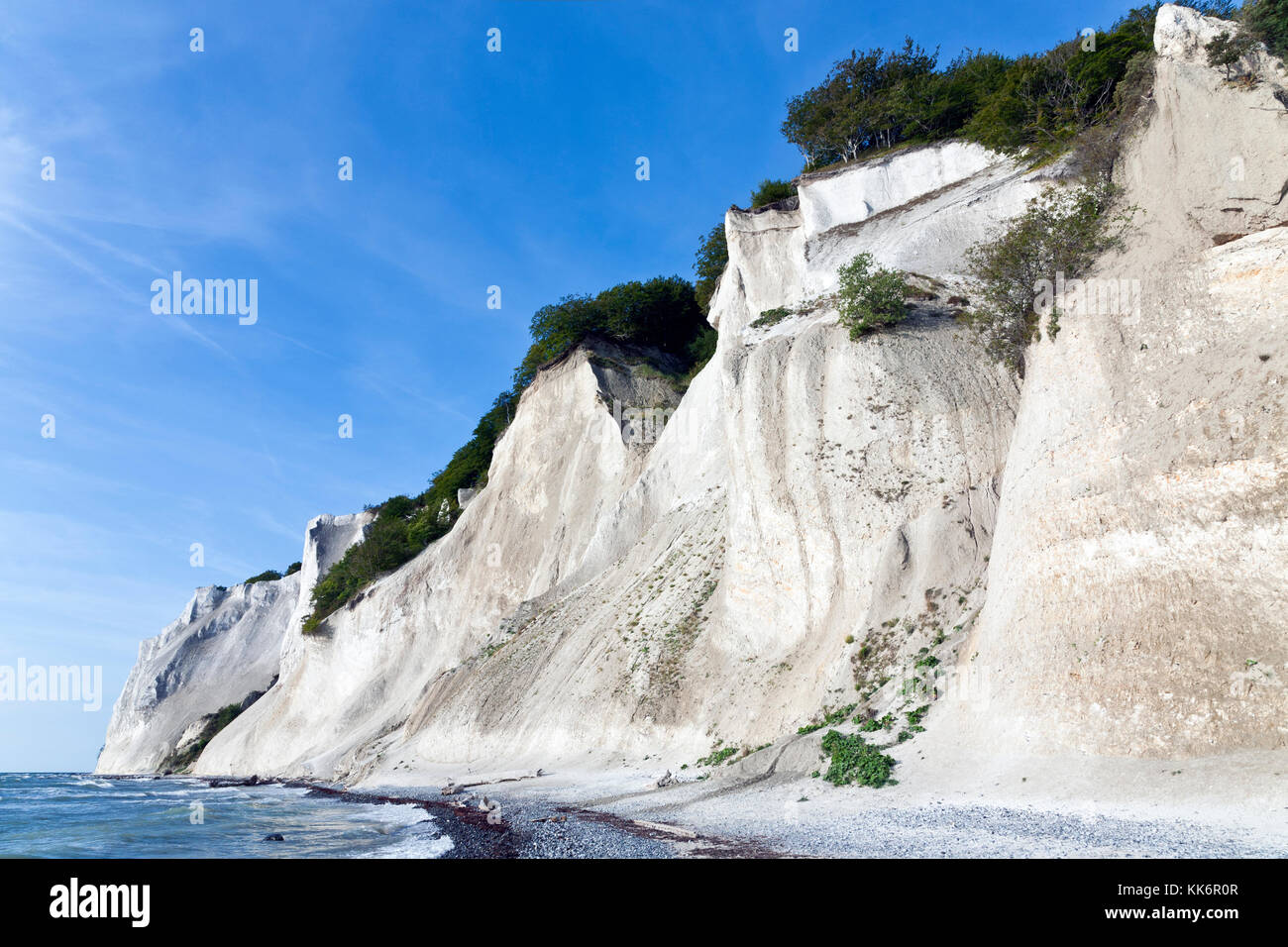 Møns Klint, the steep chalk cliffs up to 120 m above sea on the eastern Baltic Sea coast of the island Møn southeast of Sealand, Denmark, Møn or Moen. Stock Photo