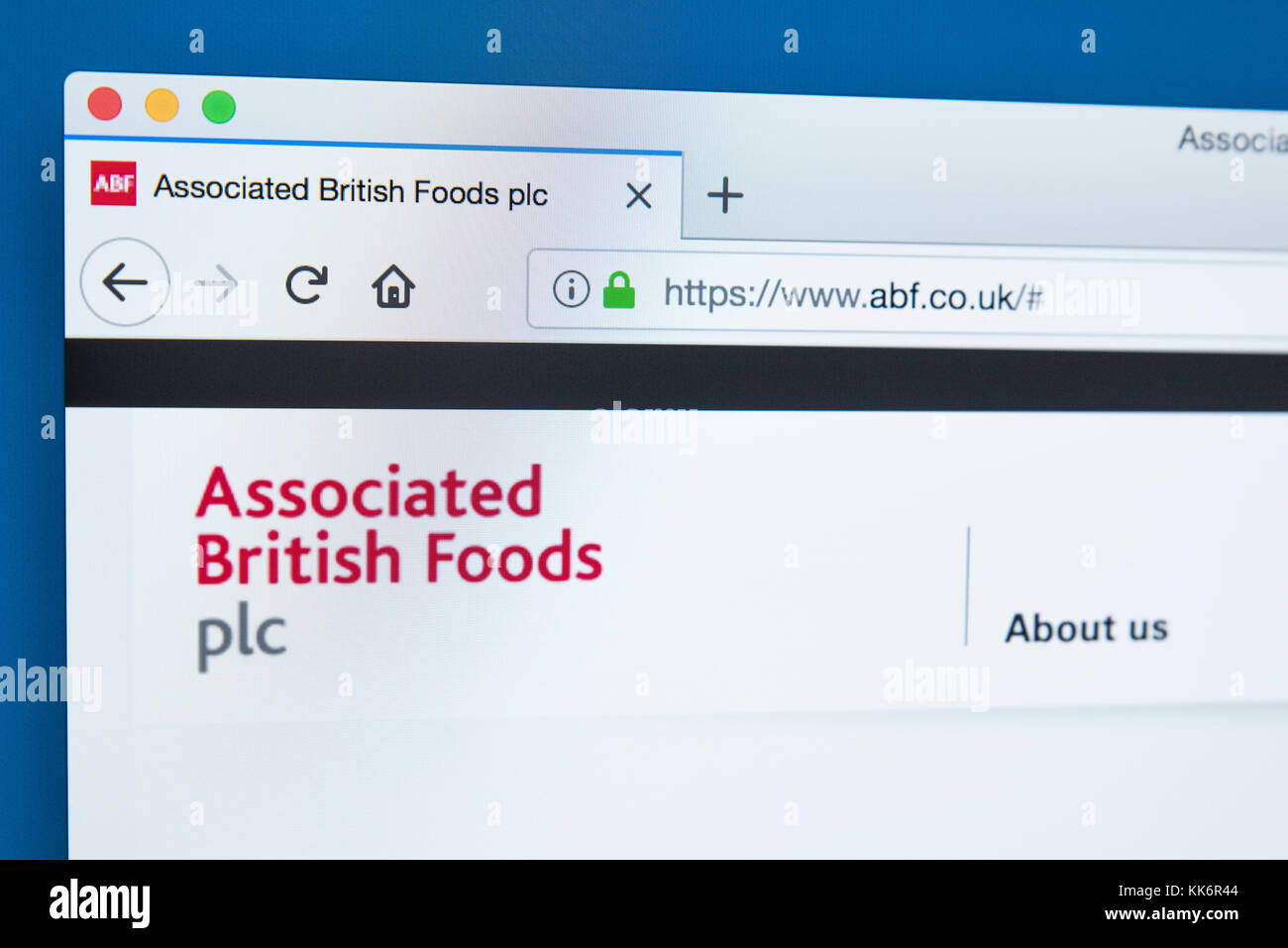 LONDON, UK - NOVEMBER 22ND 2017: The homepage of the official website for Associated British Foods plc - the British - Stock Image