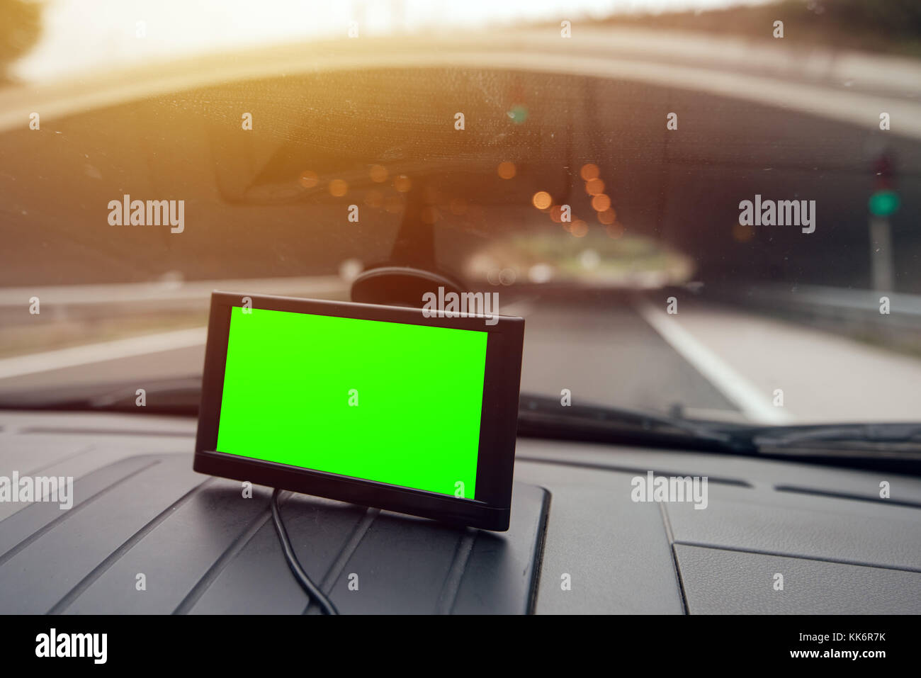 GPS (Global Positioning System) car navigation with blank screen as copy space for mock up design - Stock Image