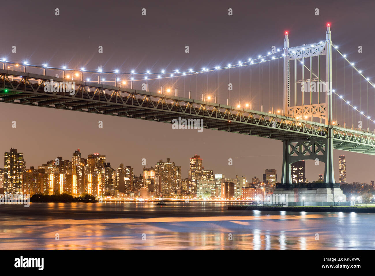 Robert F. Kennedy Bridge (aka Triboro Bridge) at night, in Astoria, Queens, New York Stock Photo