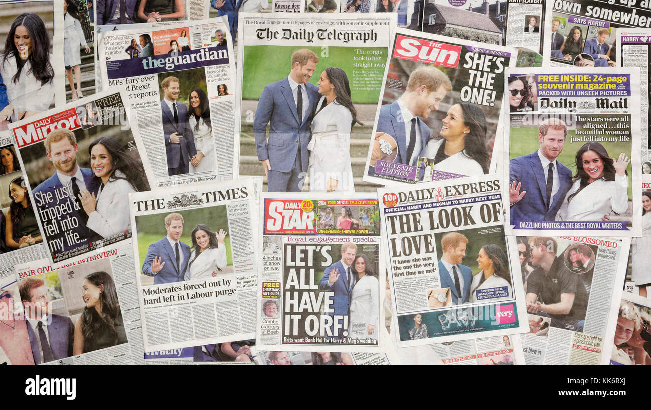 British newspaper front pages following the announcement of the royal engagement of Prince Harry and Meghan Markle. - Stock Image