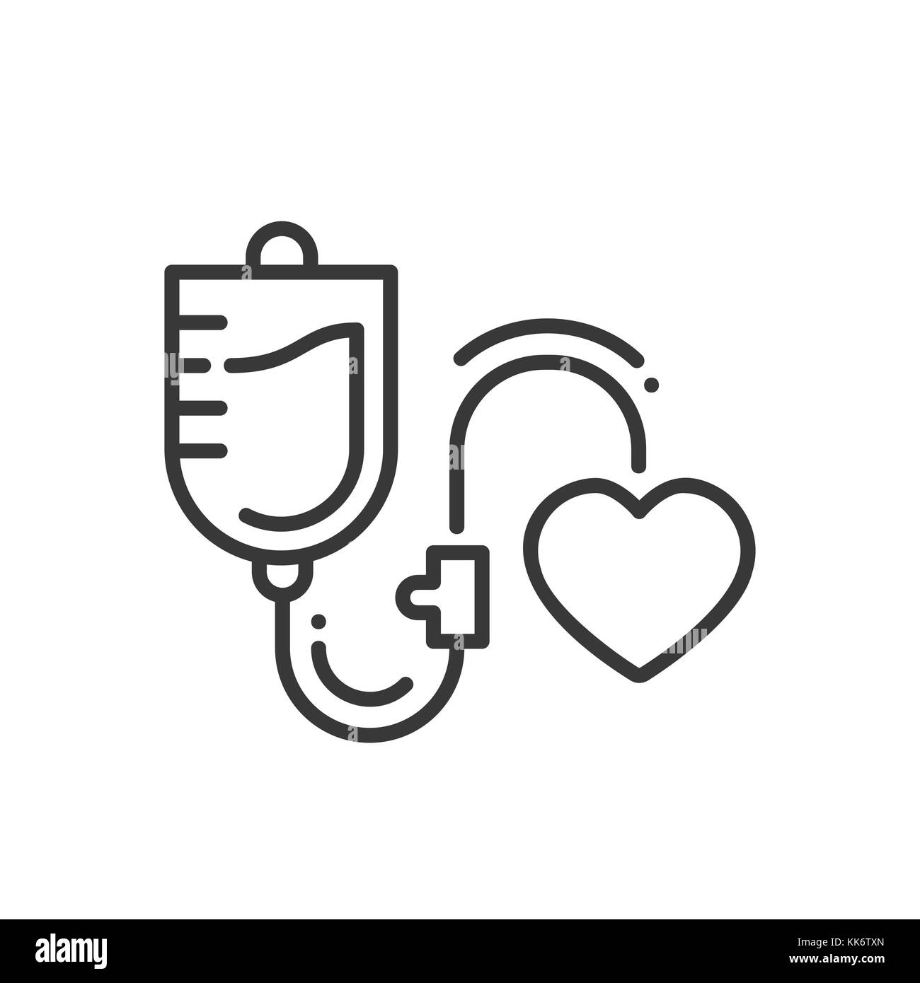 Blood transfusion - line design single isolated icon - Stock Image